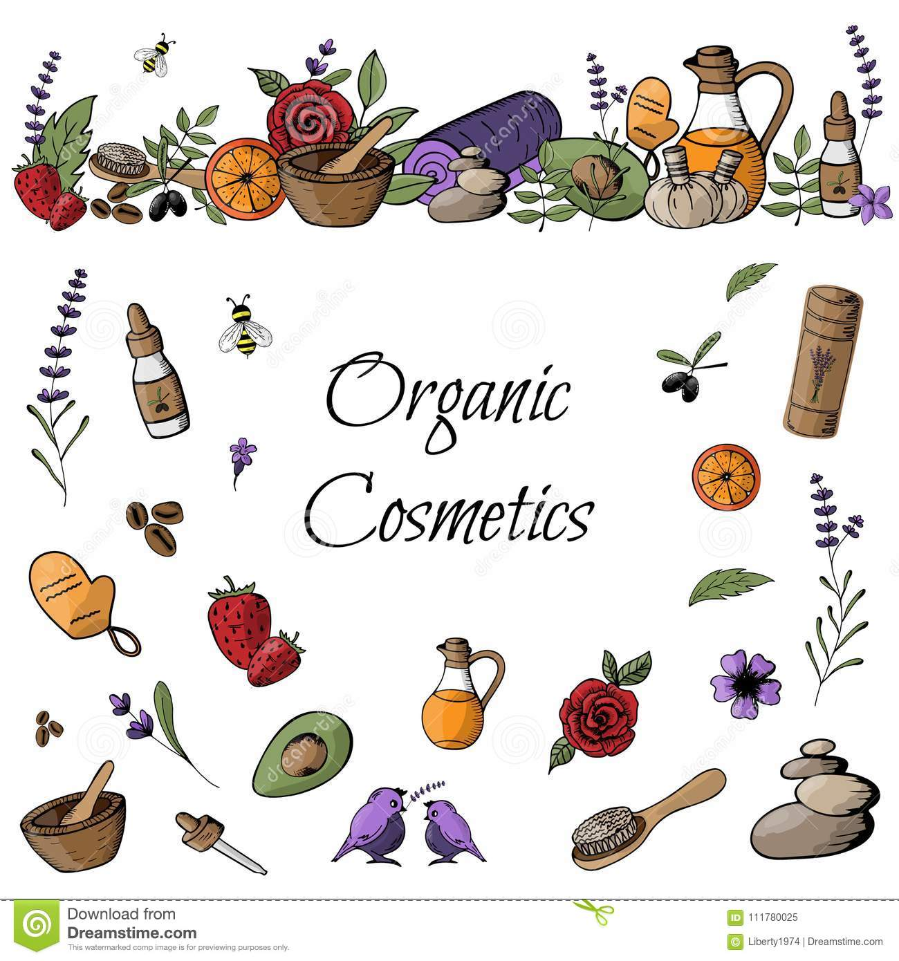 Doodle with colored organic products