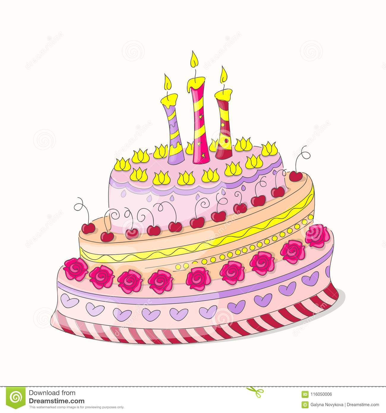 Doodle Colorful Birthday Cake With Roses And Three Candles