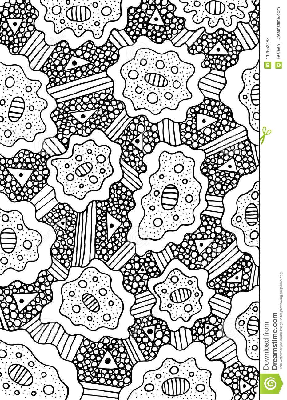 Doodle Coloring Page For Adults. Background Psychedelic ...