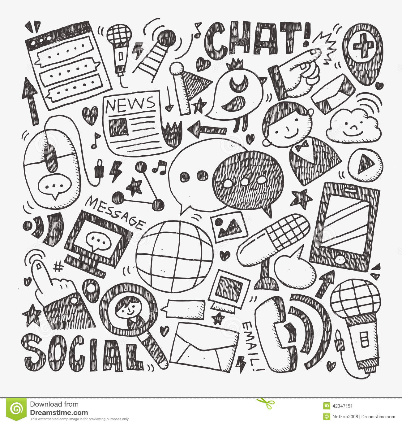 Doodle Communication Background Stock Vector - Image: 42347151