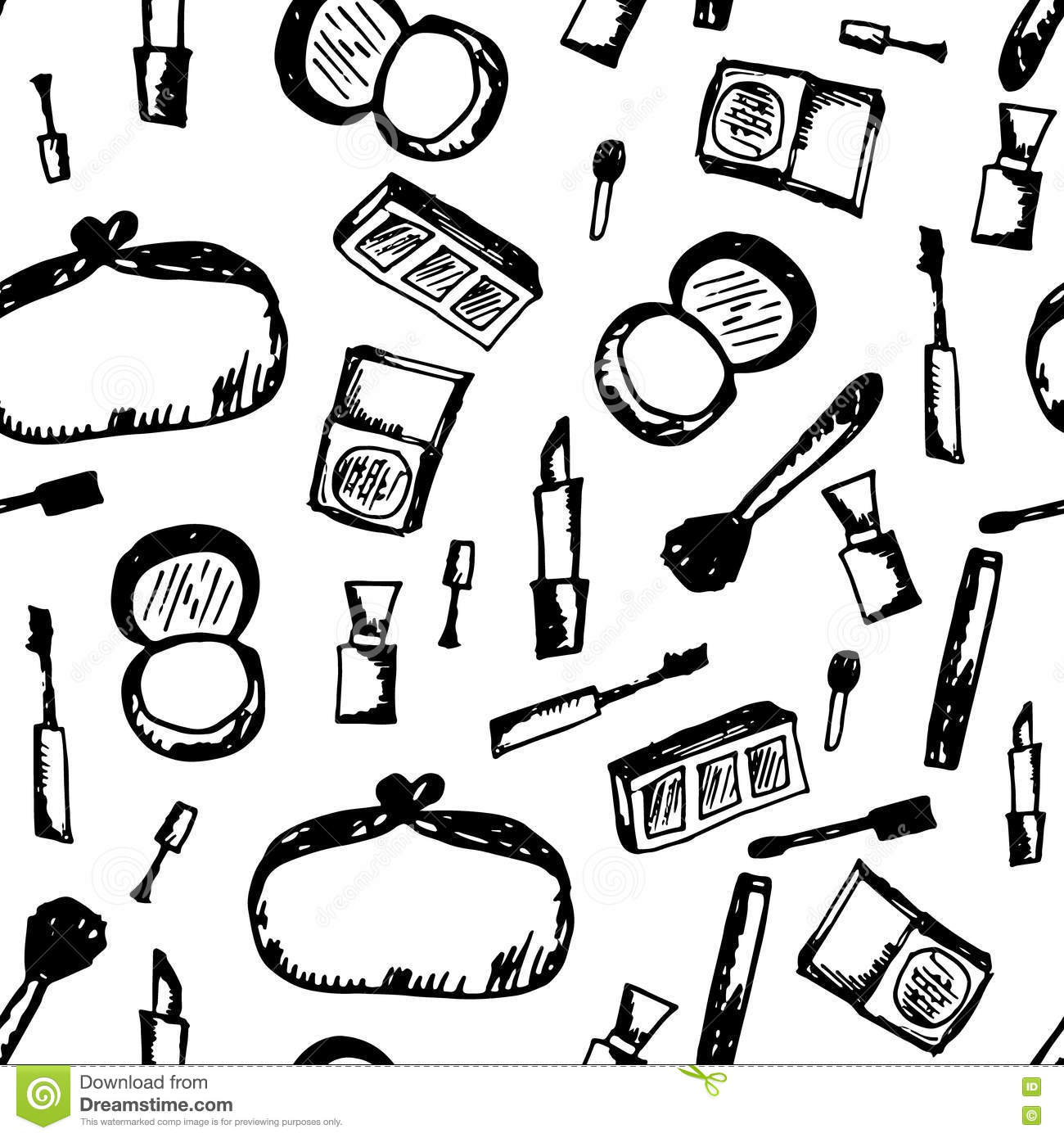 Doodle Cosmetic Black And White Pattern. Fashion Background