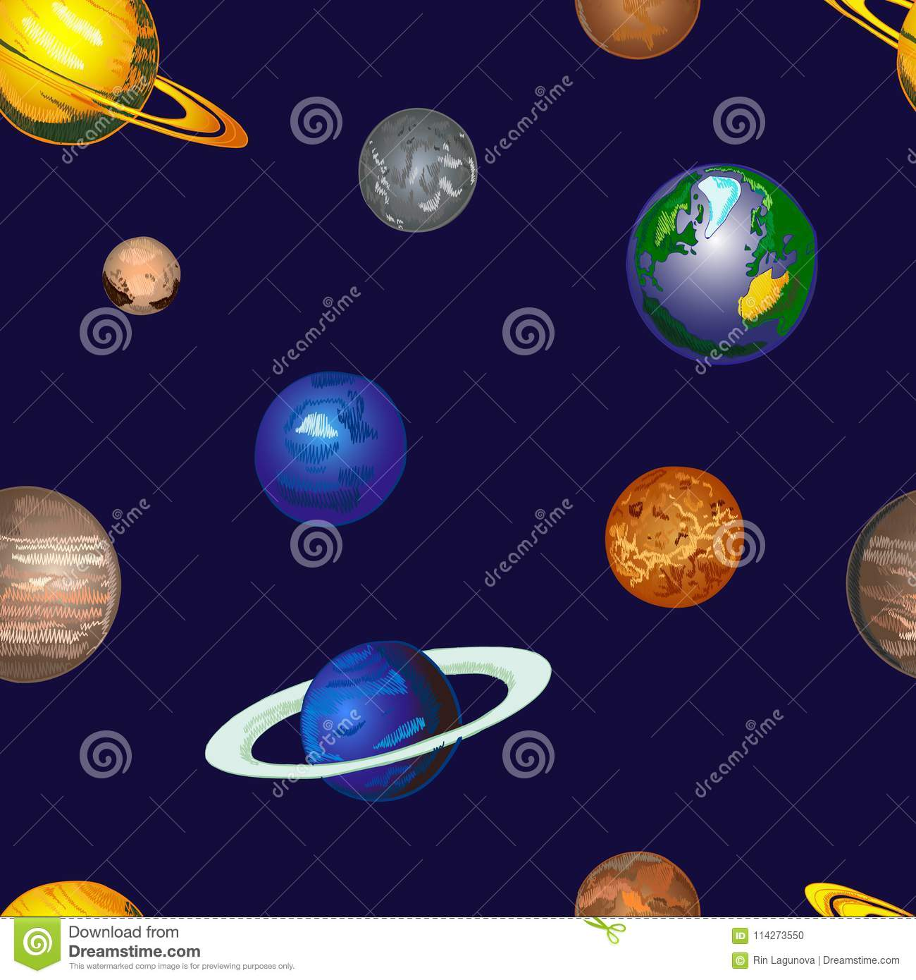 doodle cosmos vector background seamless pattern hand drawn