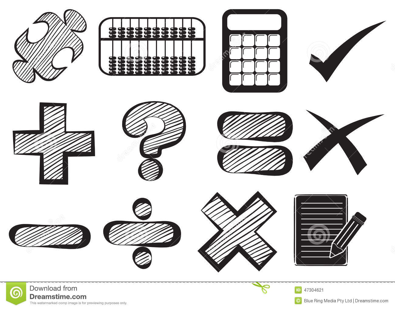 doodle design of the different math operations