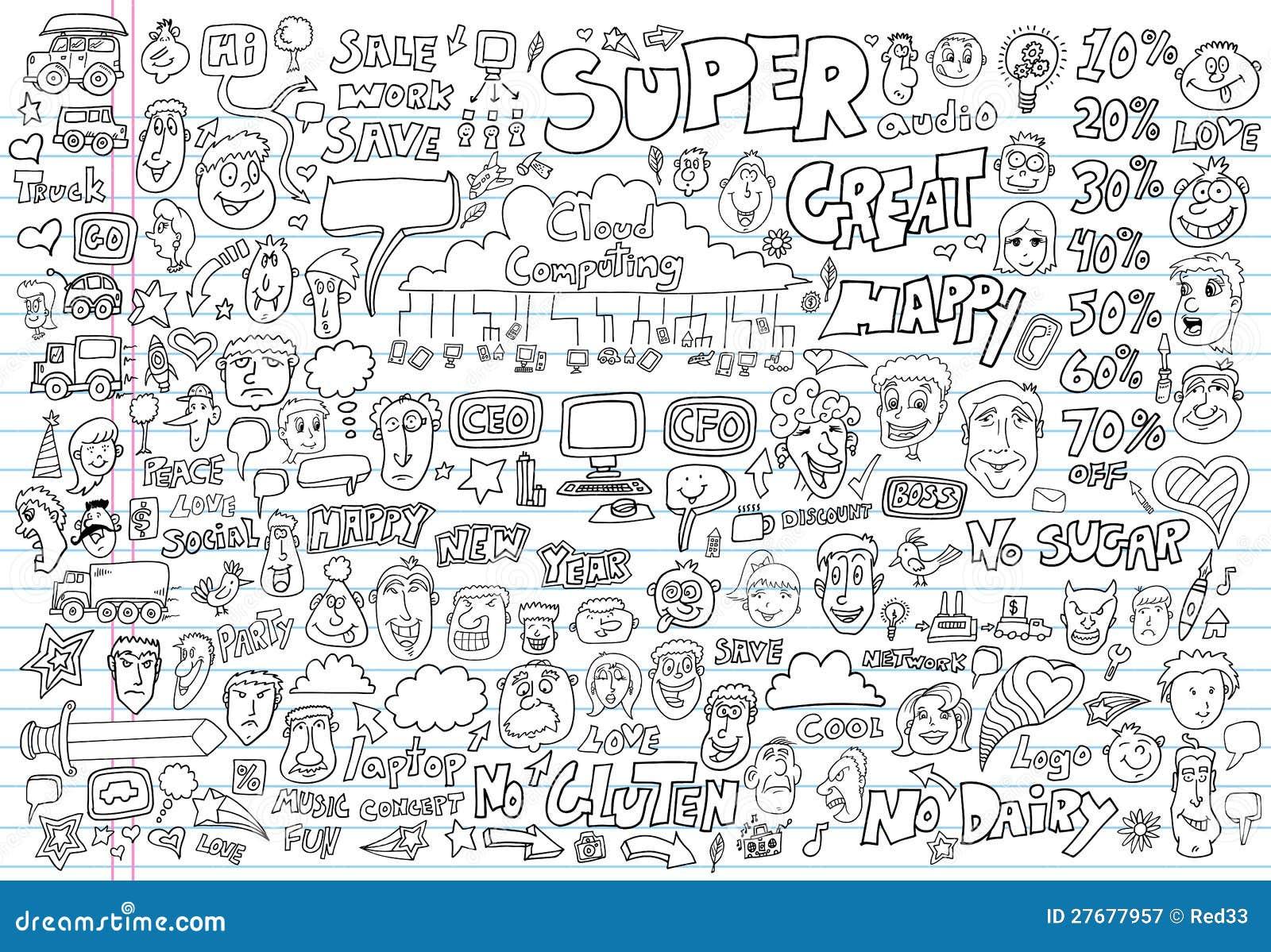 Doodle Design Elements Vector Set Stock Vector - Illustration of ...