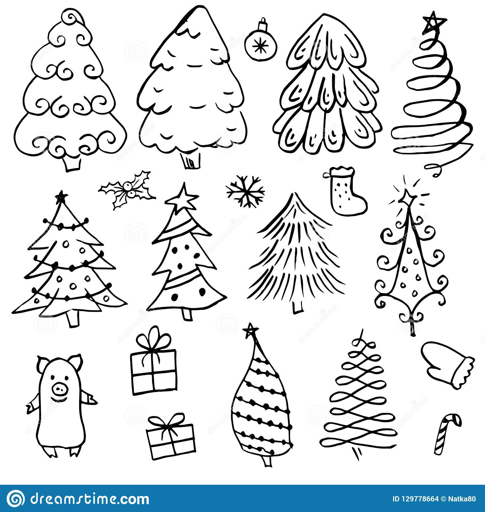 Doodle Different Christmas Tree With Black Outline Stock Vector
