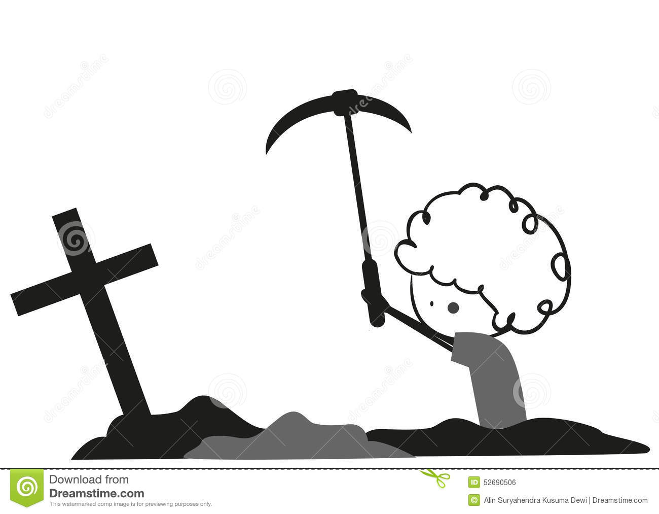 Fresh Grave With Stove And Christian Cross. Dig A Shovel. Flat.. Royalty  Free Cliparts, Vectors, And Stock Illustration. Image 142556418.