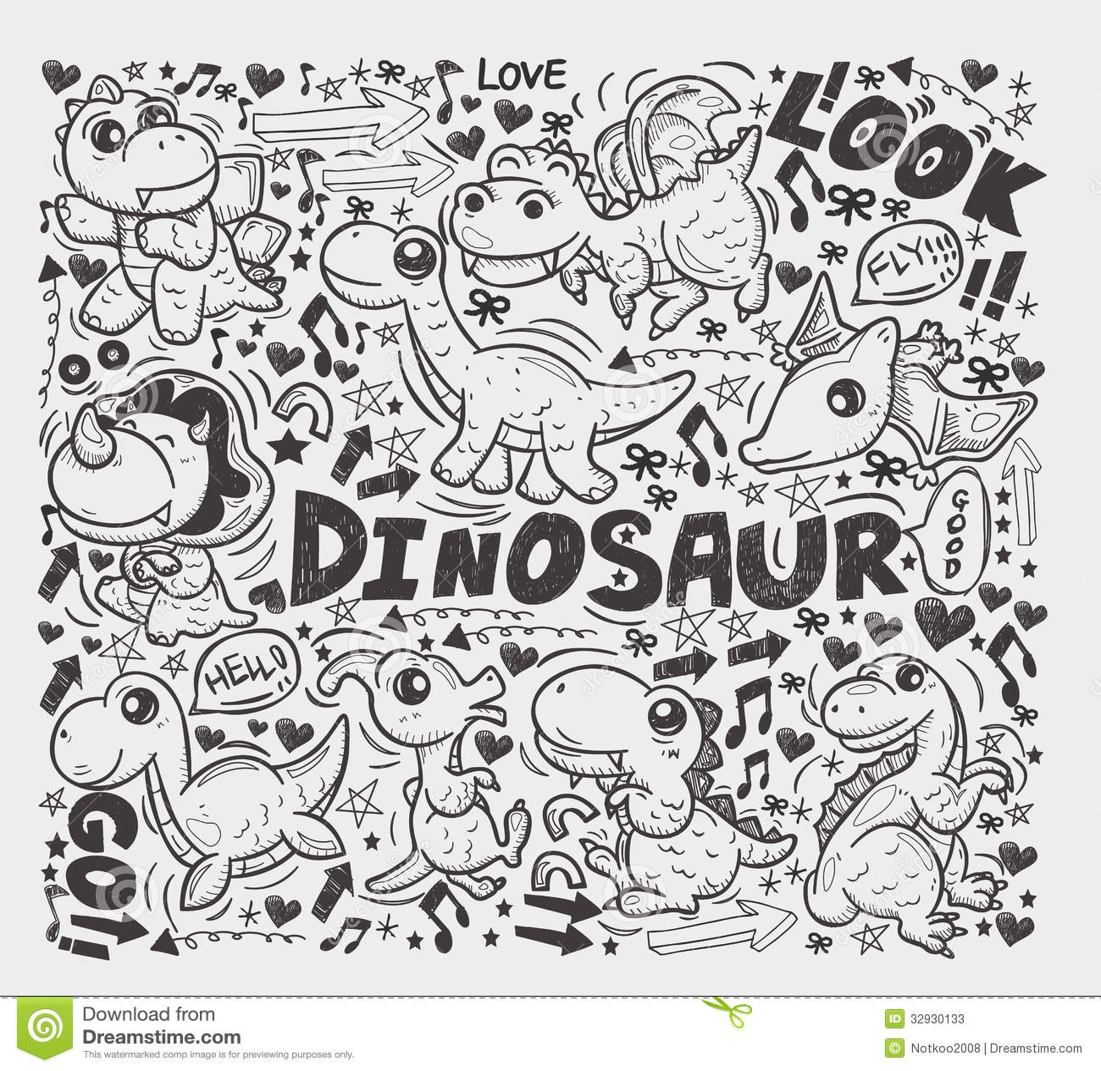 Doodle Dinosaur Element Stock Photos Image 32930133