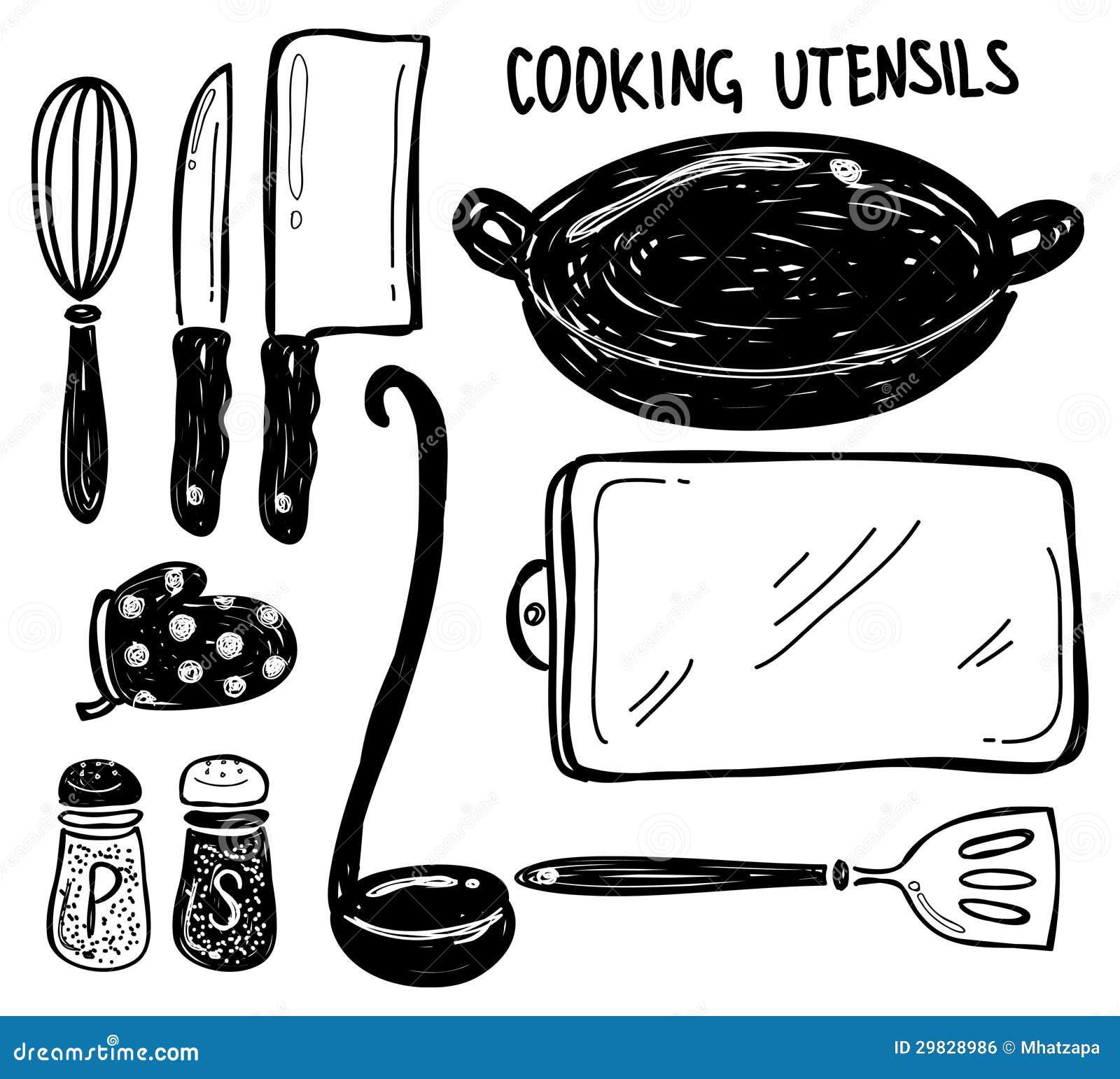 Doodle do utensílio de cozimento