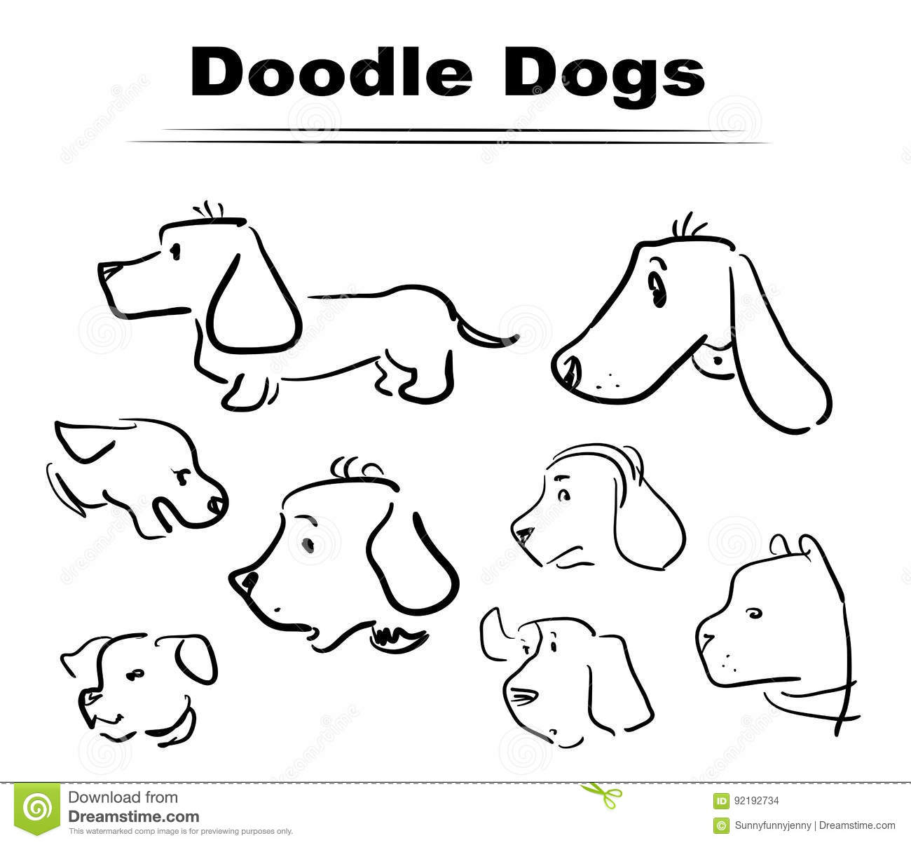 Doodle dog 005 stock vector  Illustration of hand, draw - 92192734