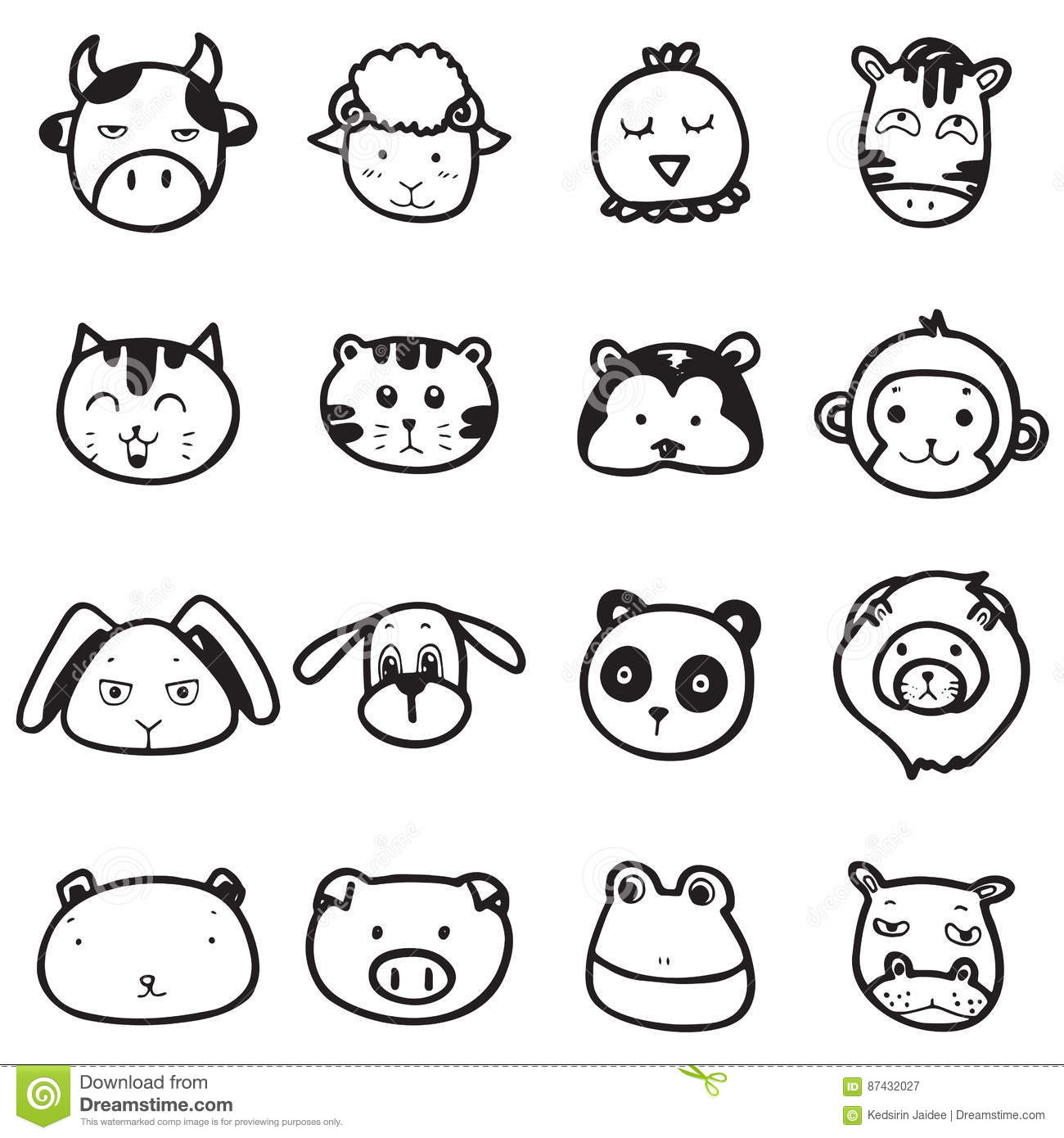 Line Drawing Animal Face : Doodle drawing animal face emotion stock vector