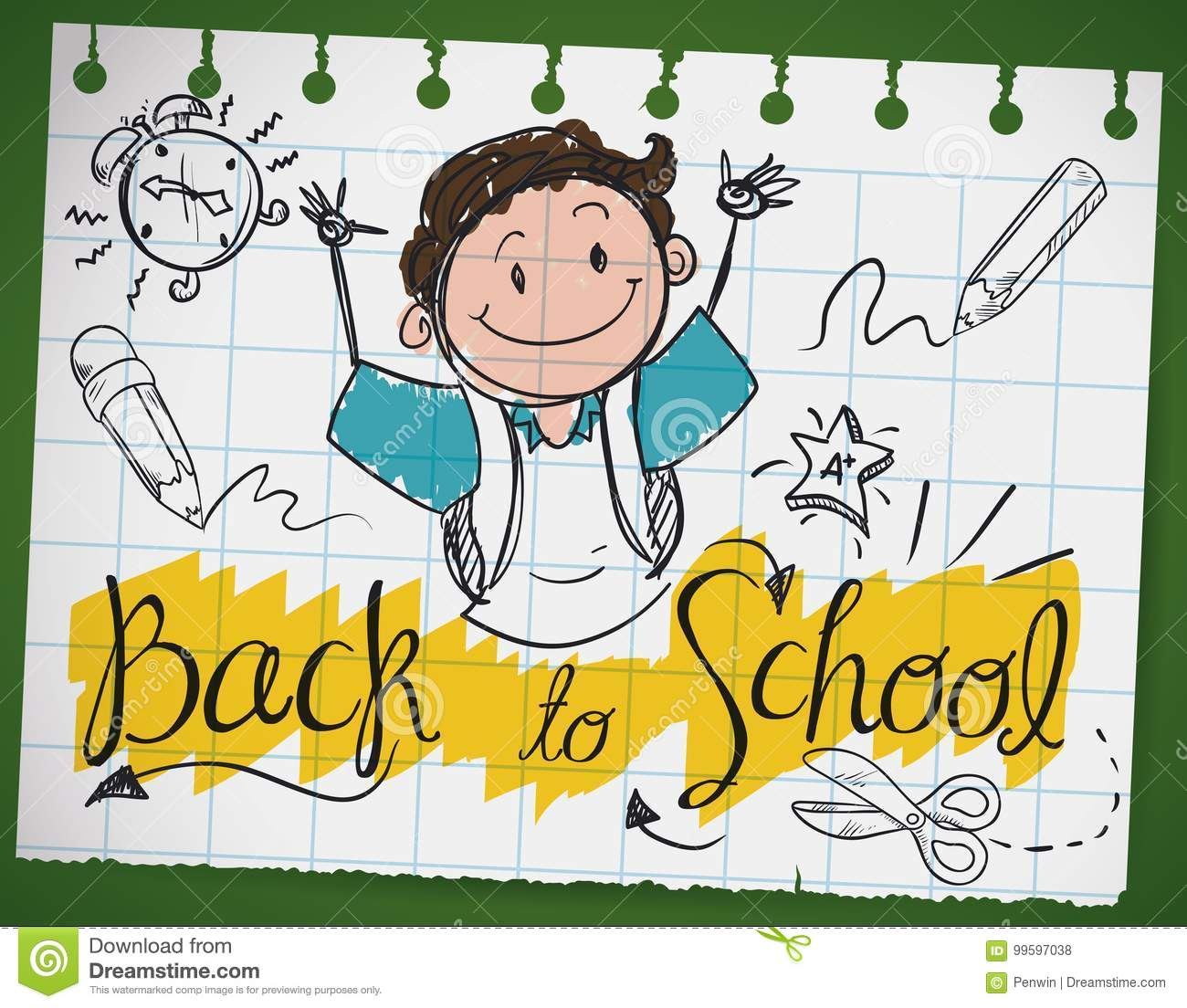 Doodle Drawing in a Notebook Paper for Back to School, Vector Illustration