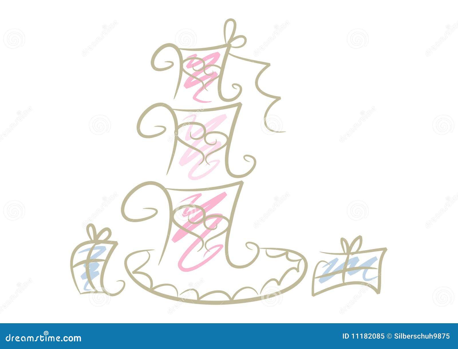 Simple Wedding Cake Drawing