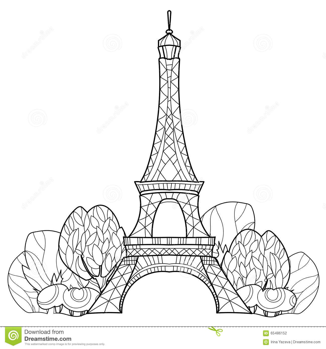 Doodle Eiffel Tower. Hand Drawn Vector Sketch. Stock ...