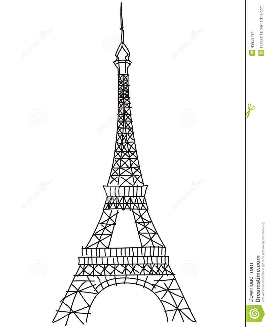 doodle eiffel tower stock vector  illustration of