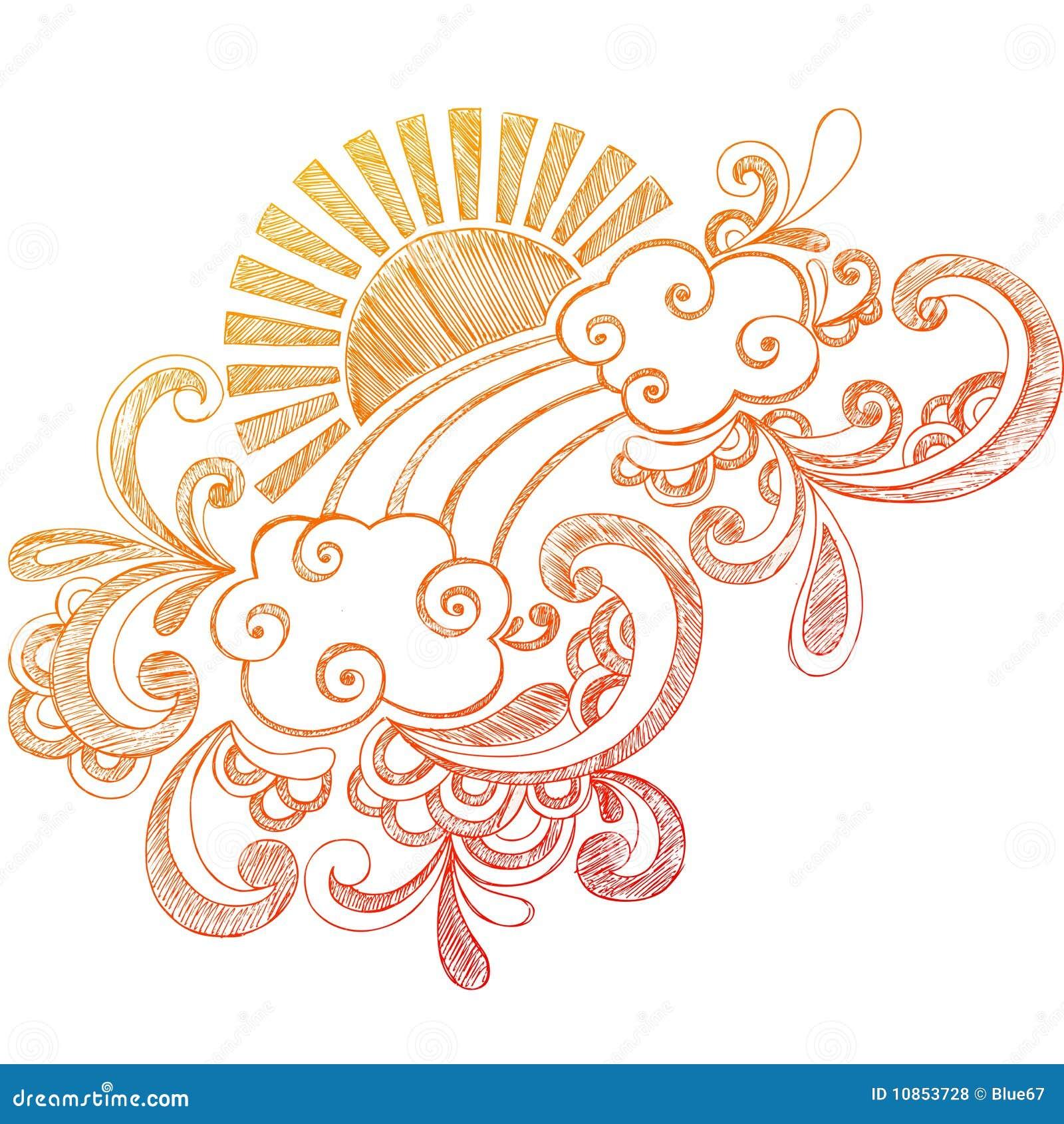Doodle esboçado do caderno de Sun do verão