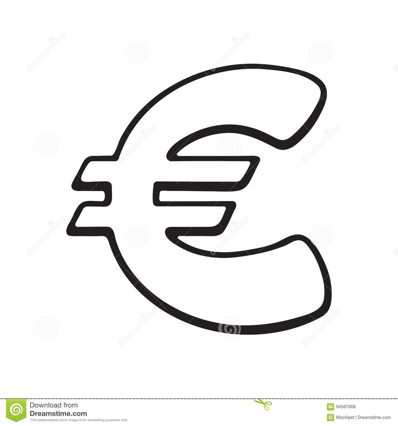 Doodle Of Euro Sign Stock Vector Illustration Of Cartoon 94567806