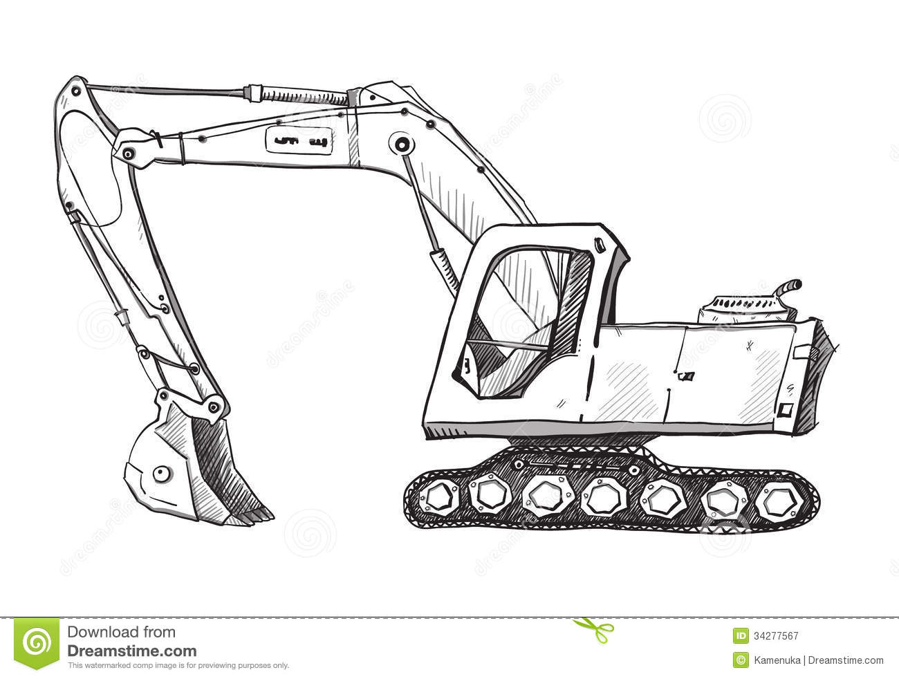 Doodle Excavator Drawing Royalty Free Stock Photography