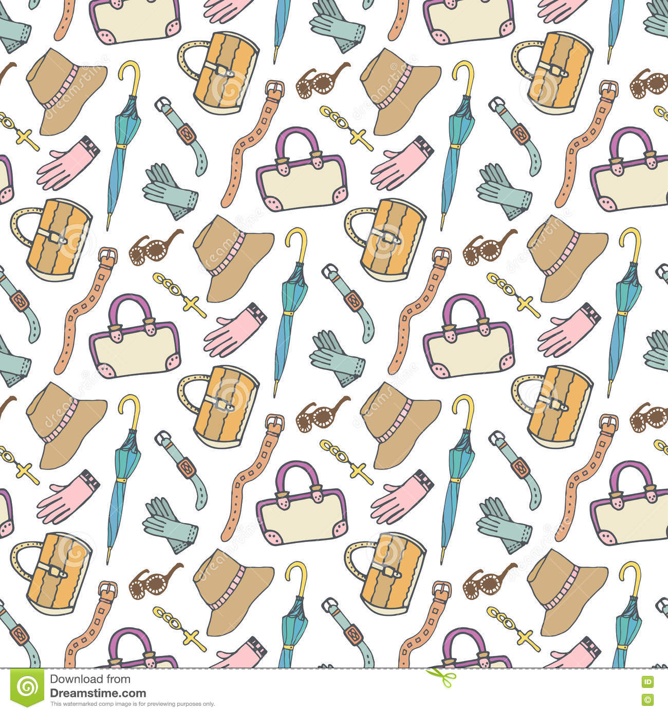 Doodle Fashion Pattern With Accessories And Handbags ...