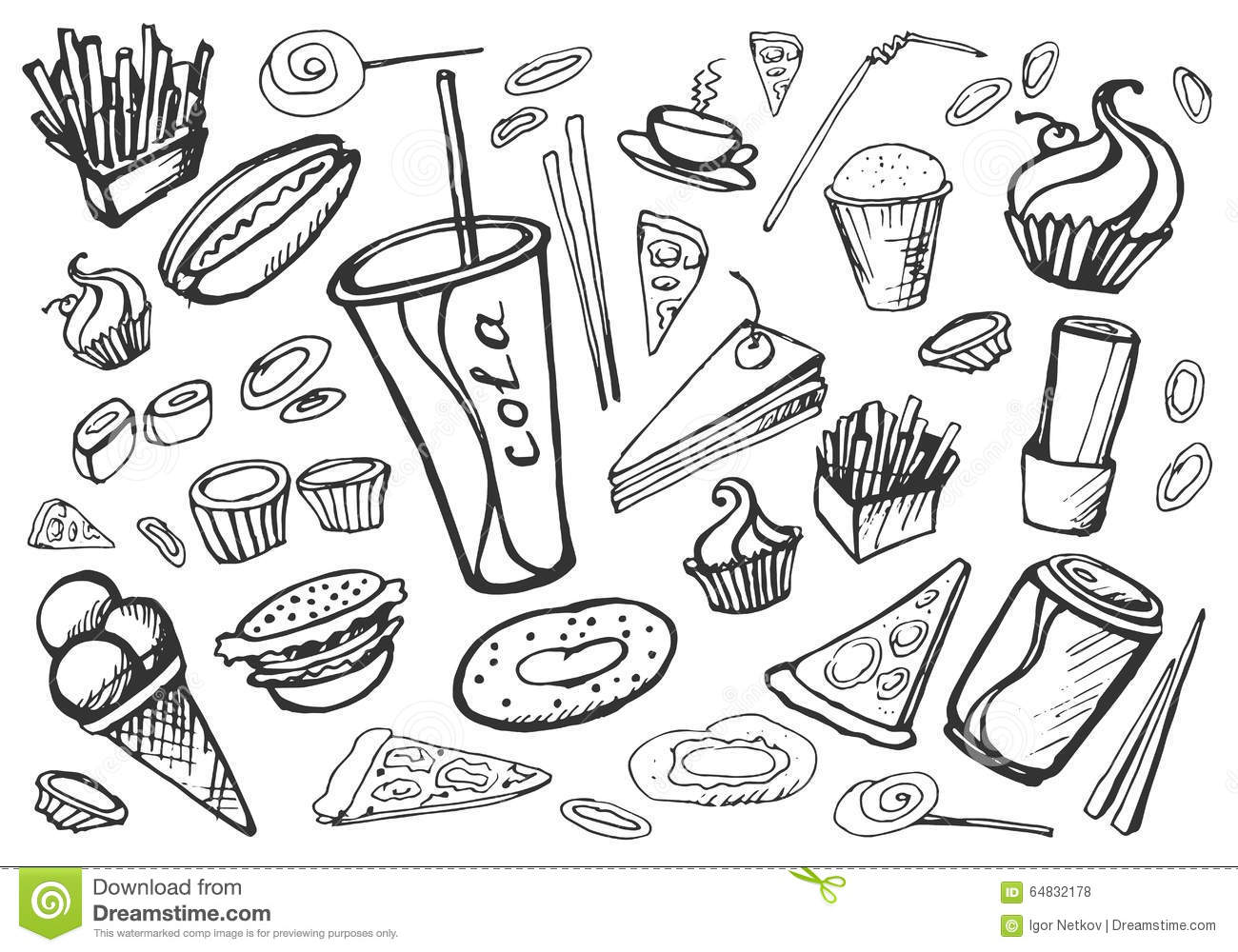 Doodle Fast Food Stock Vector. Illustration Of Ketchup - 64832178