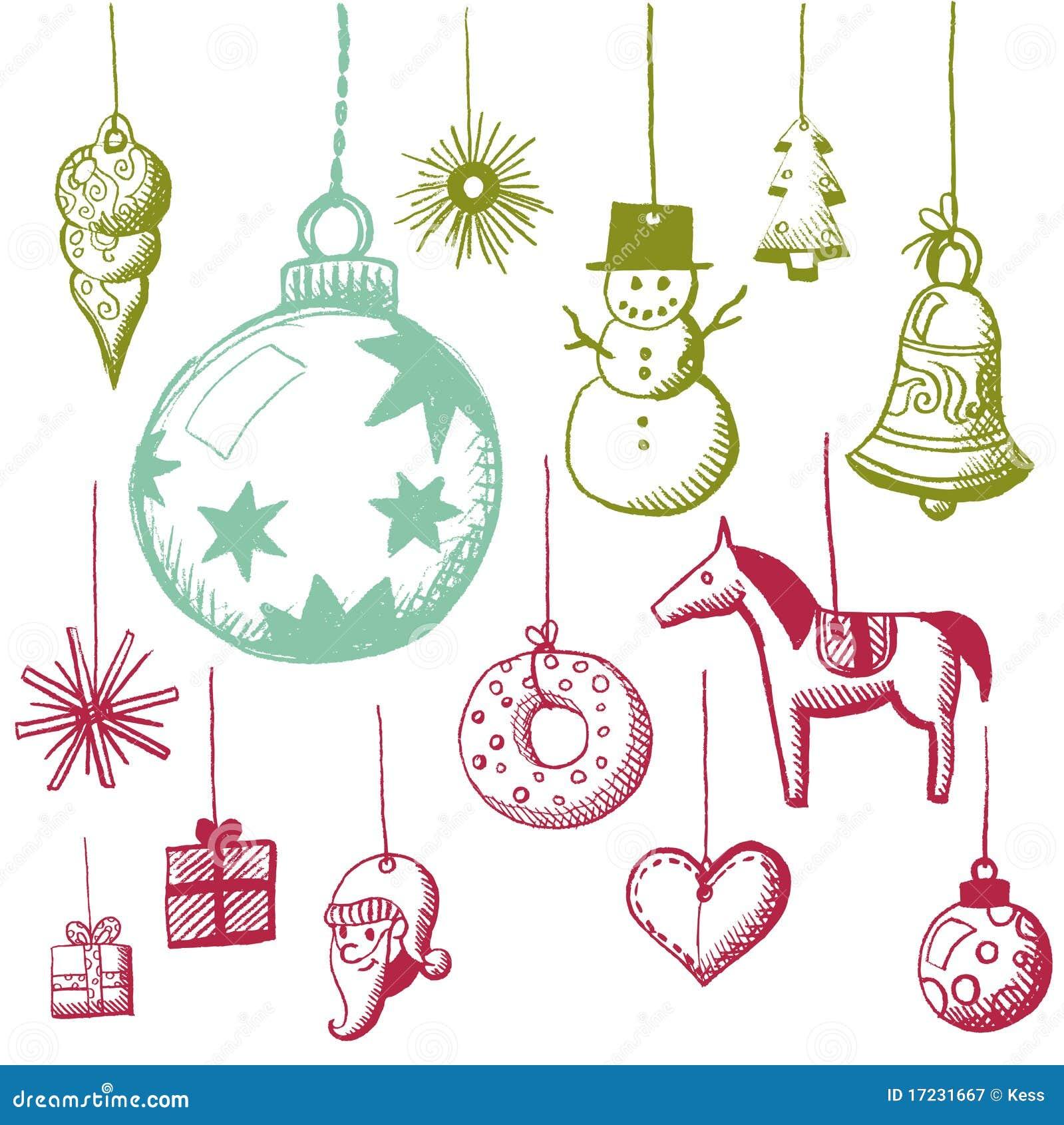 Doodle fijado - etiquetas de Navidad