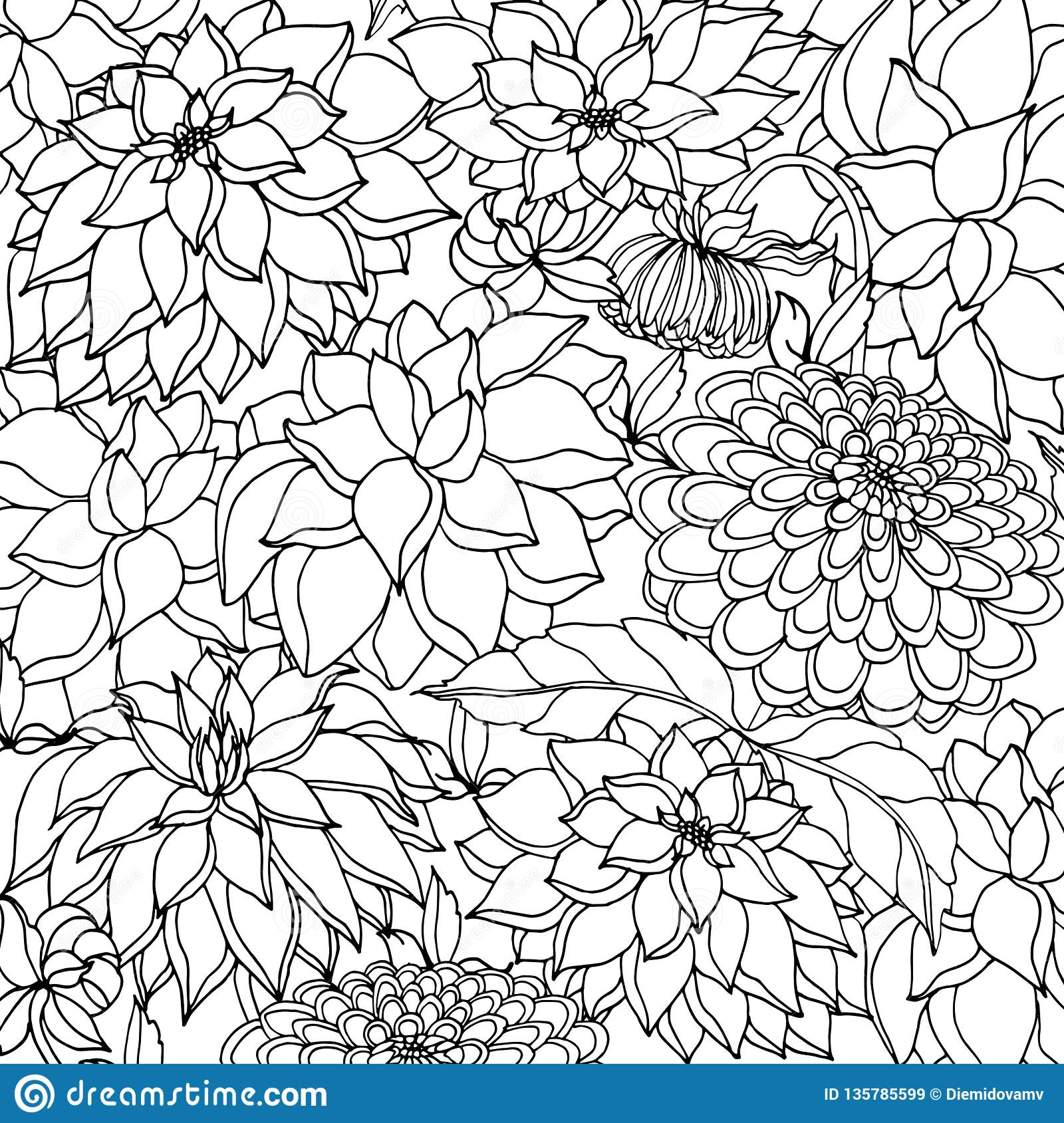 Doodle floral background in vector with doodles black and white coloring page