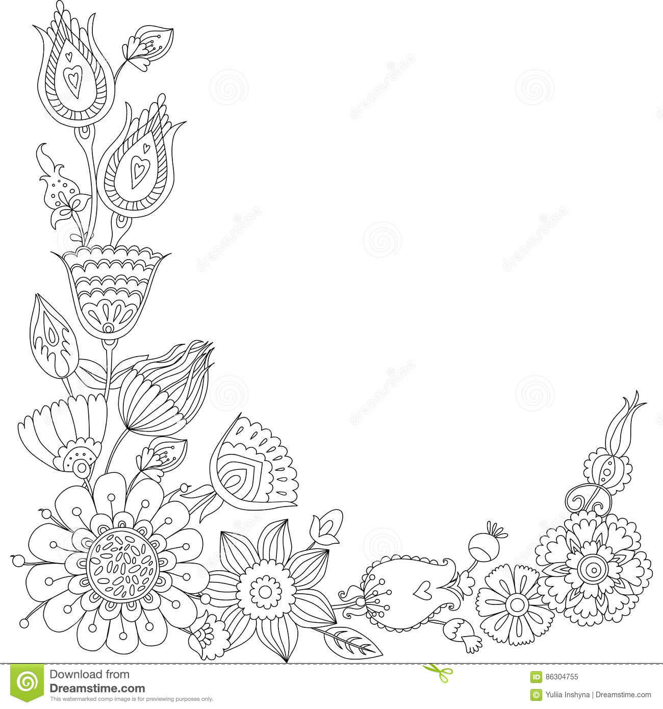 Doodle Floral Greeting Card Black And White Floral Frame Stock