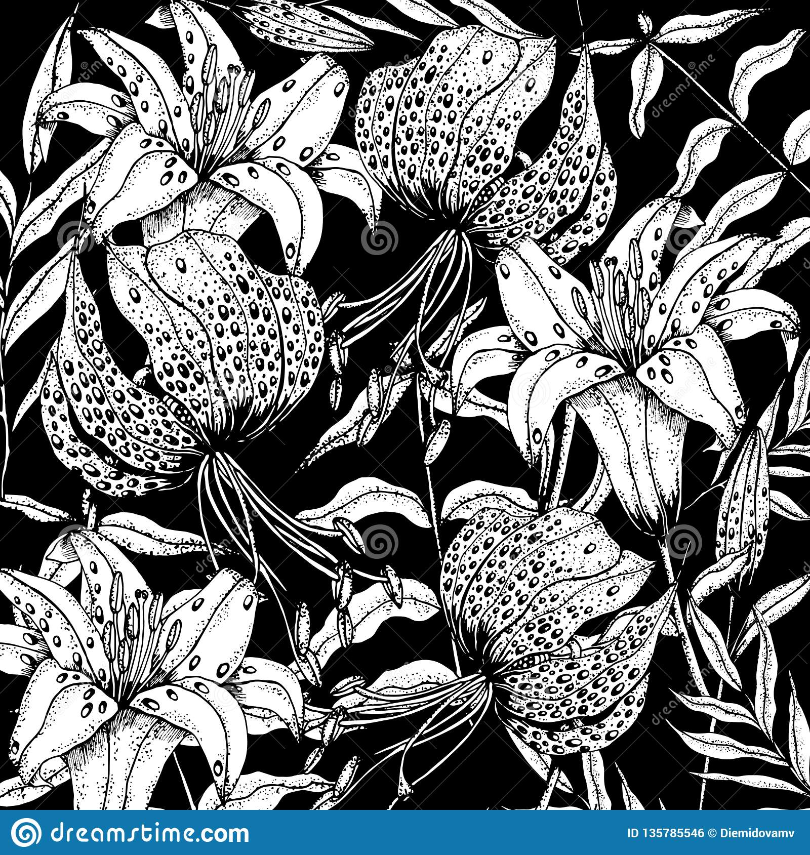 Doodle Floral Lily Background In Vector With Doodles Black And White