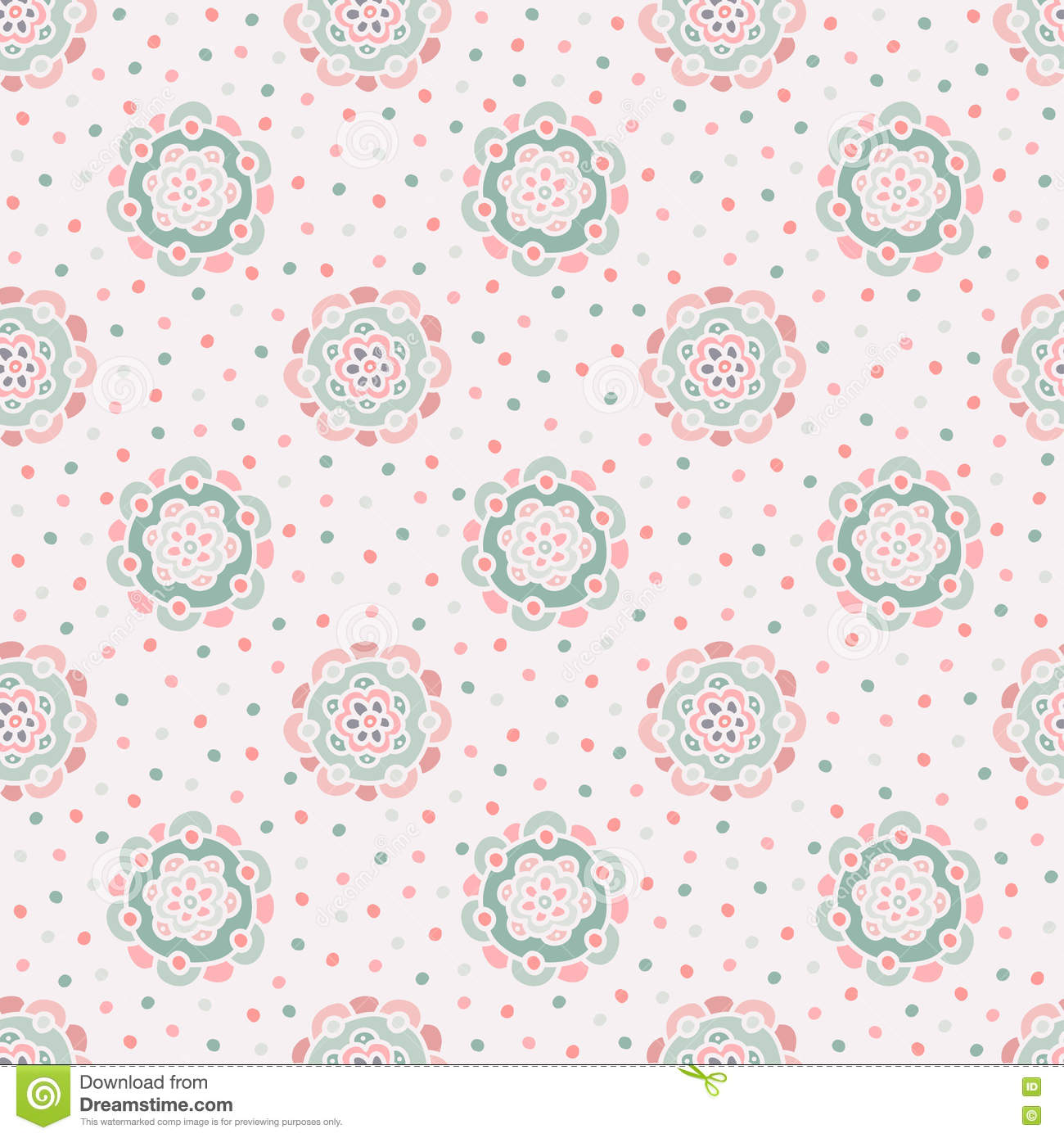 Doodle Floral Pattern Seamless Boho Background Beautiful Pastel