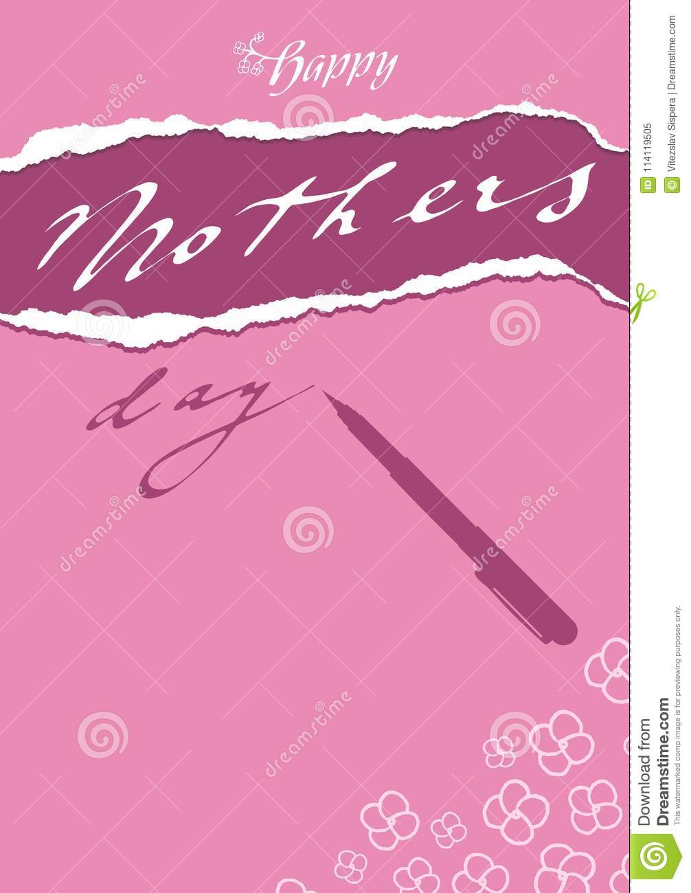 Doodle floral purple pink greeting card to mothers day with pen download doodle floral purple pink greeting card to mothers day with pen stock vector m4hsunfo