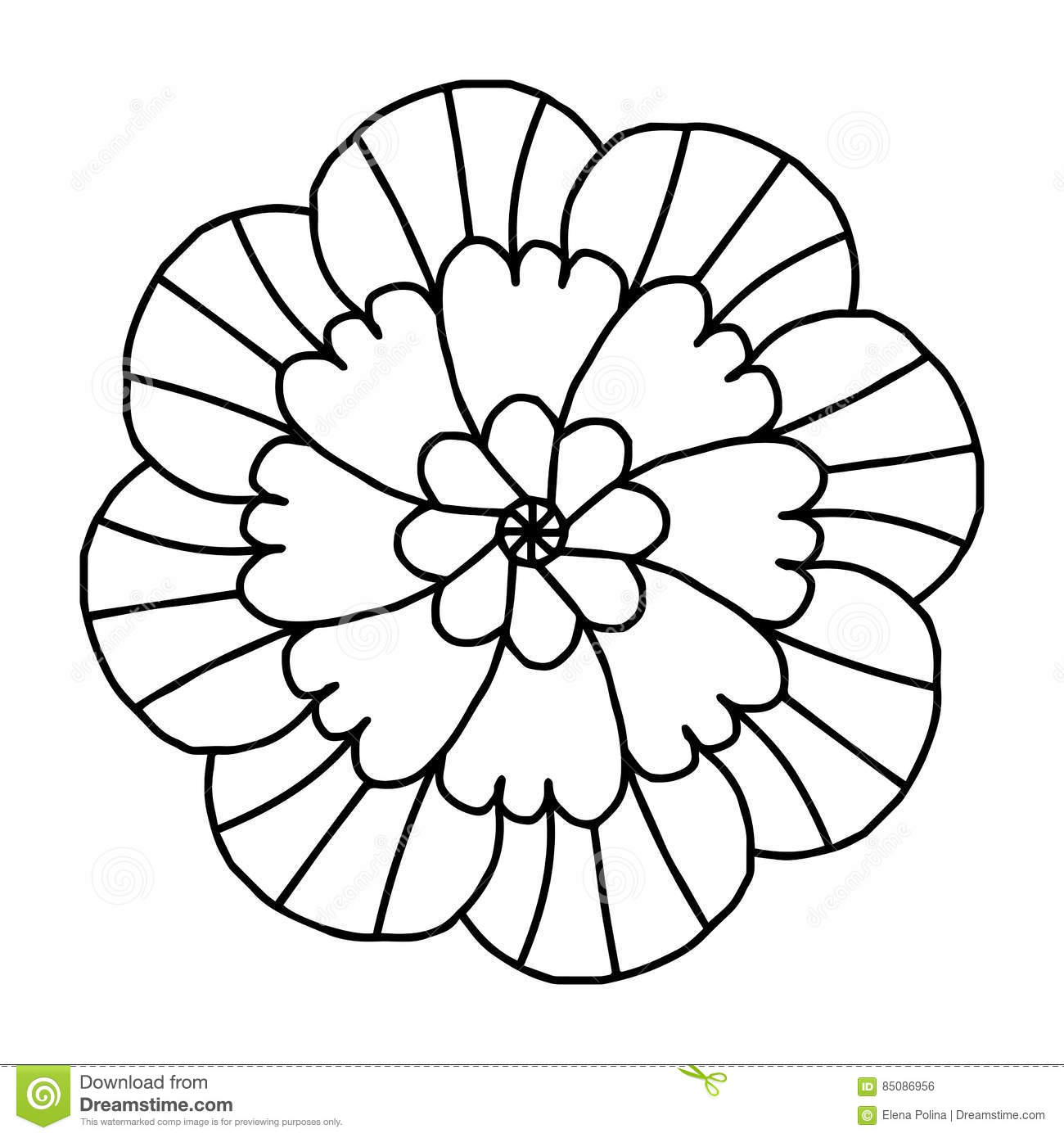 Doodle Flower For Coloring Books Stock Vector - Illustration ...