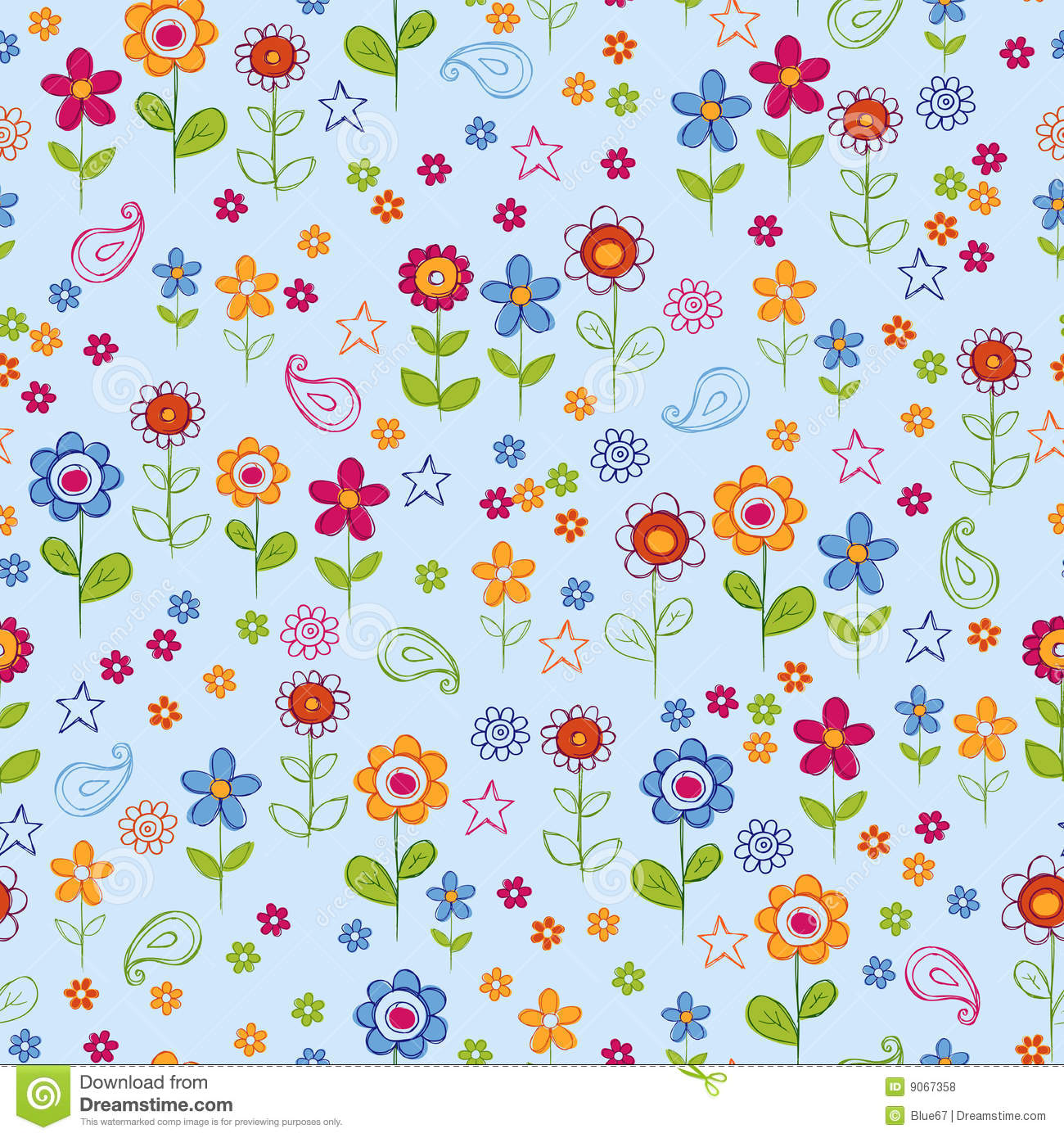 Doodle Flower Garden Seamless Repeat Pattern