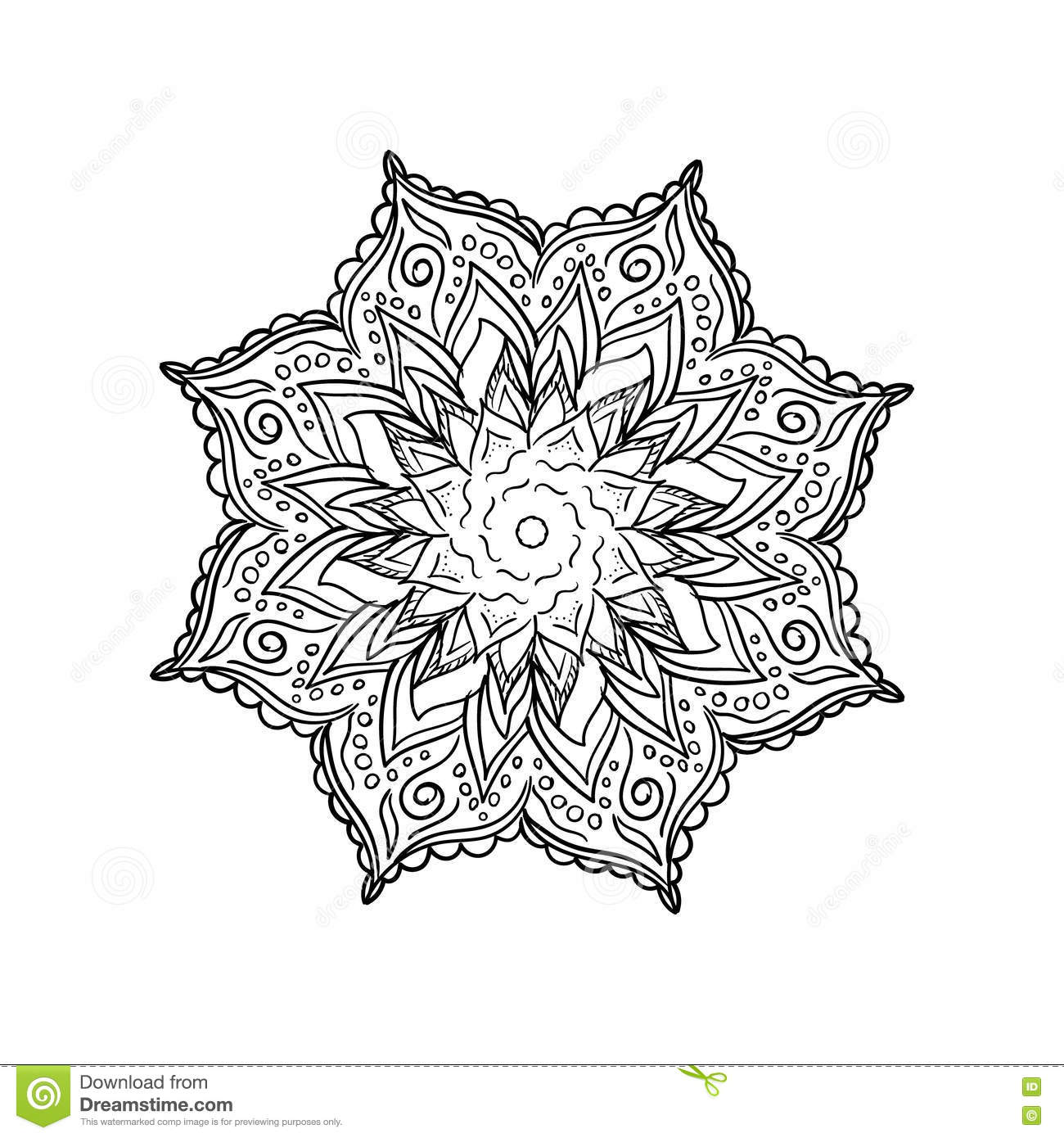 doodle flower mandala coloring book outline line isolated page intricate vector