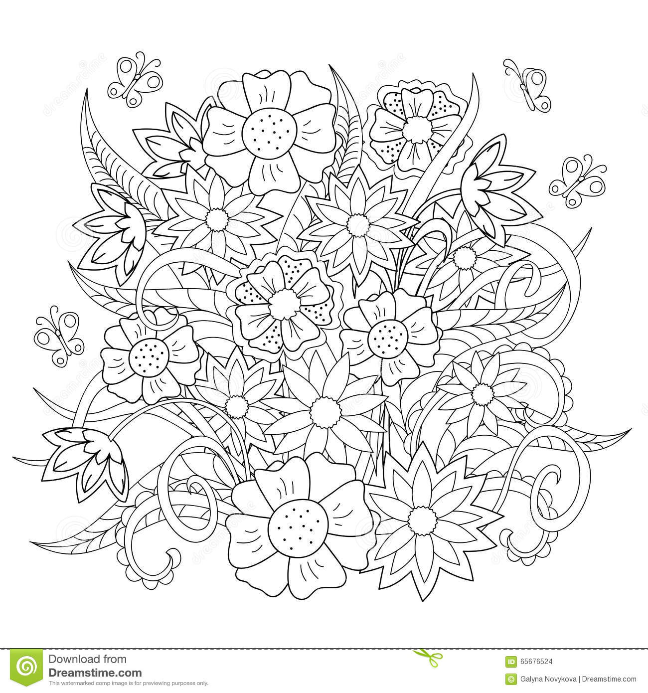 doodle flowers herb and butterfly stock vector image 65676524