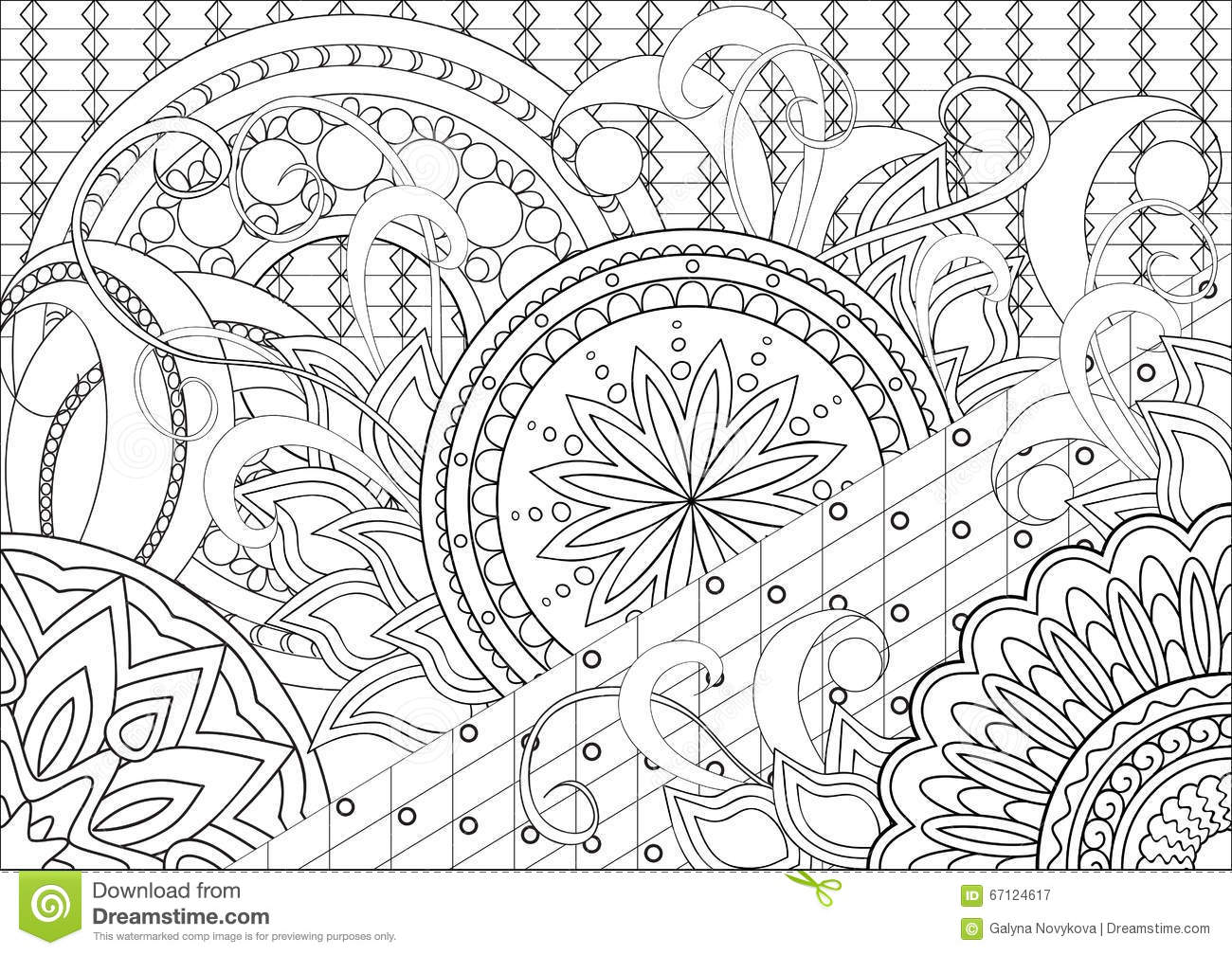 Doodle Flowers And Mandalas Stock Vector Image 67124617
