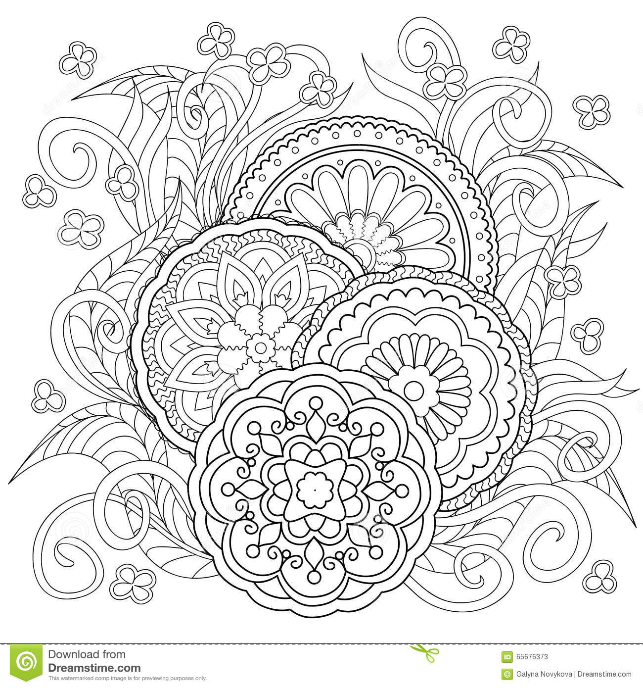 Doodle Flowers And Mandalas Stock Vector