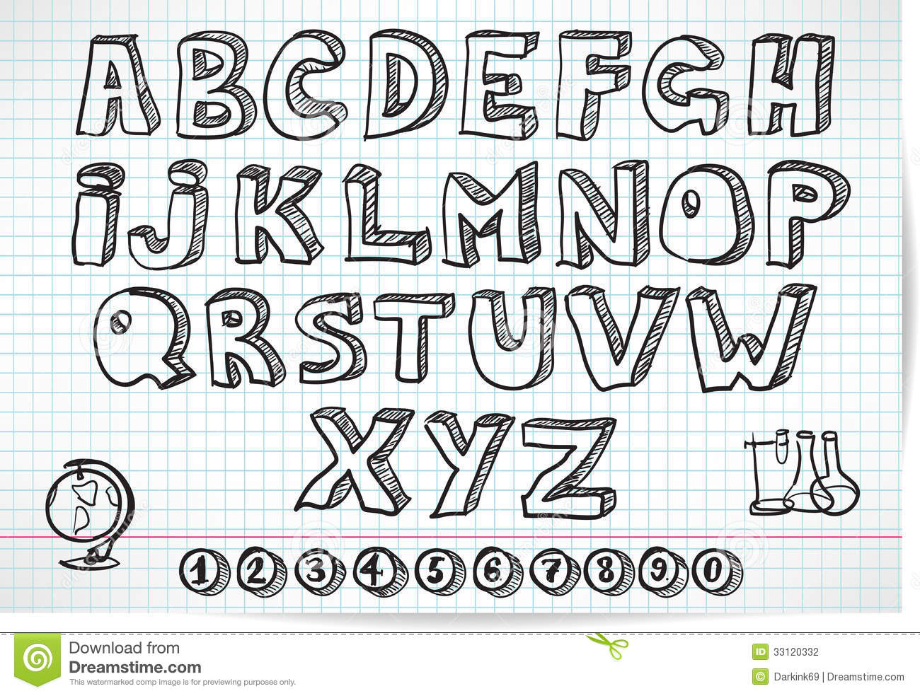 Doodle Font On Lined Sheet Stock Photography Image 33120332