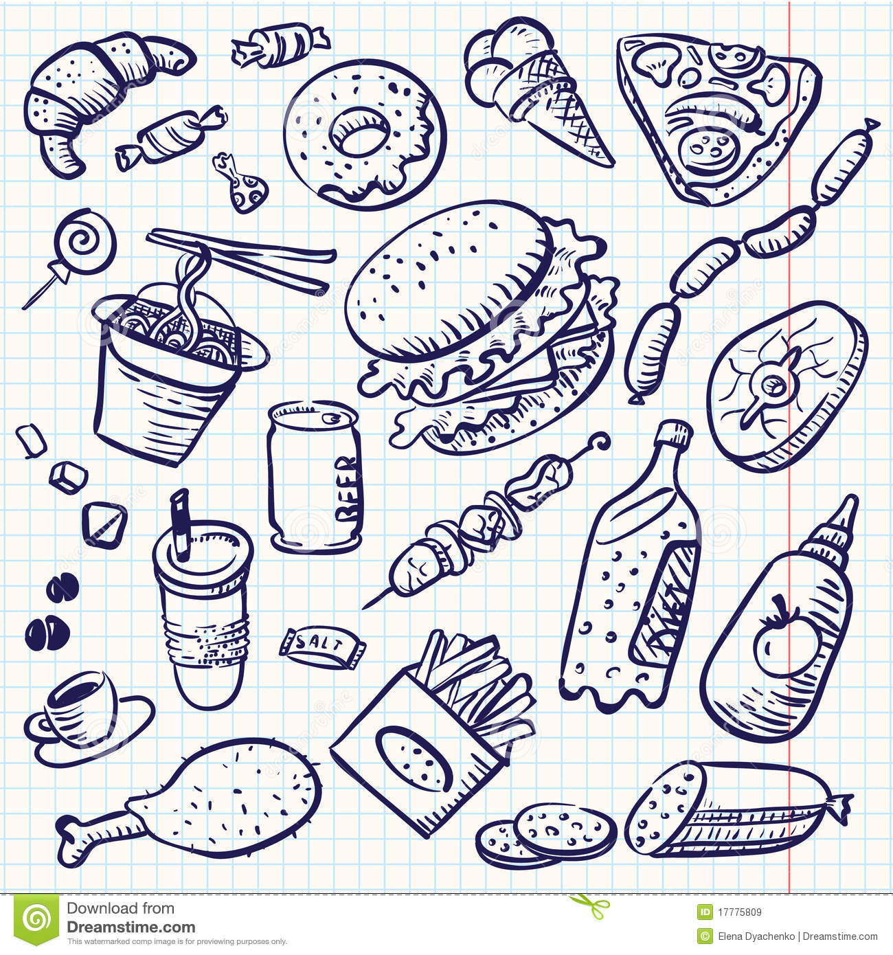 Doodle Food Royalty Free Stock Images - Image: 17775809