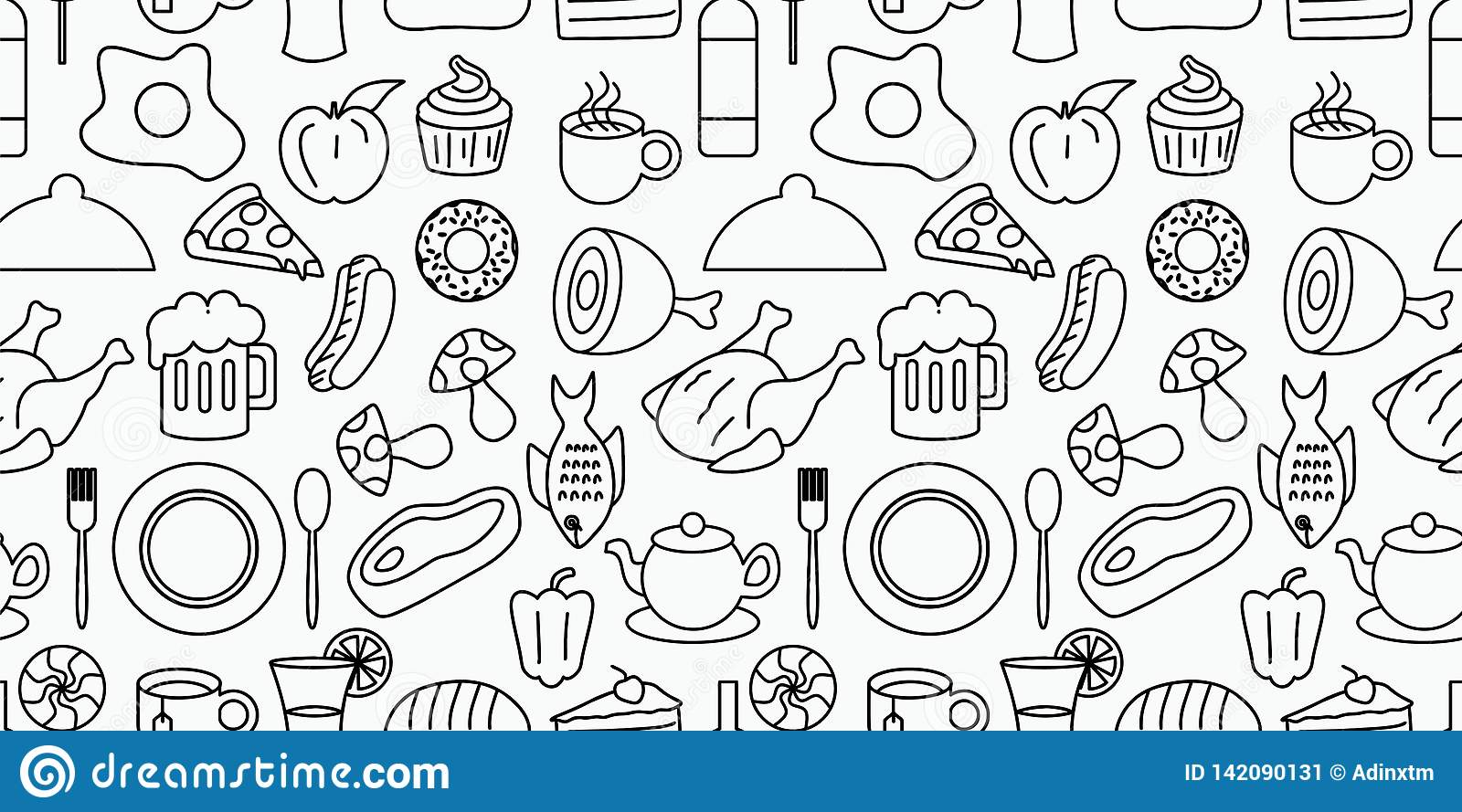 Doodle of food and drink seamless pattern vector illustration