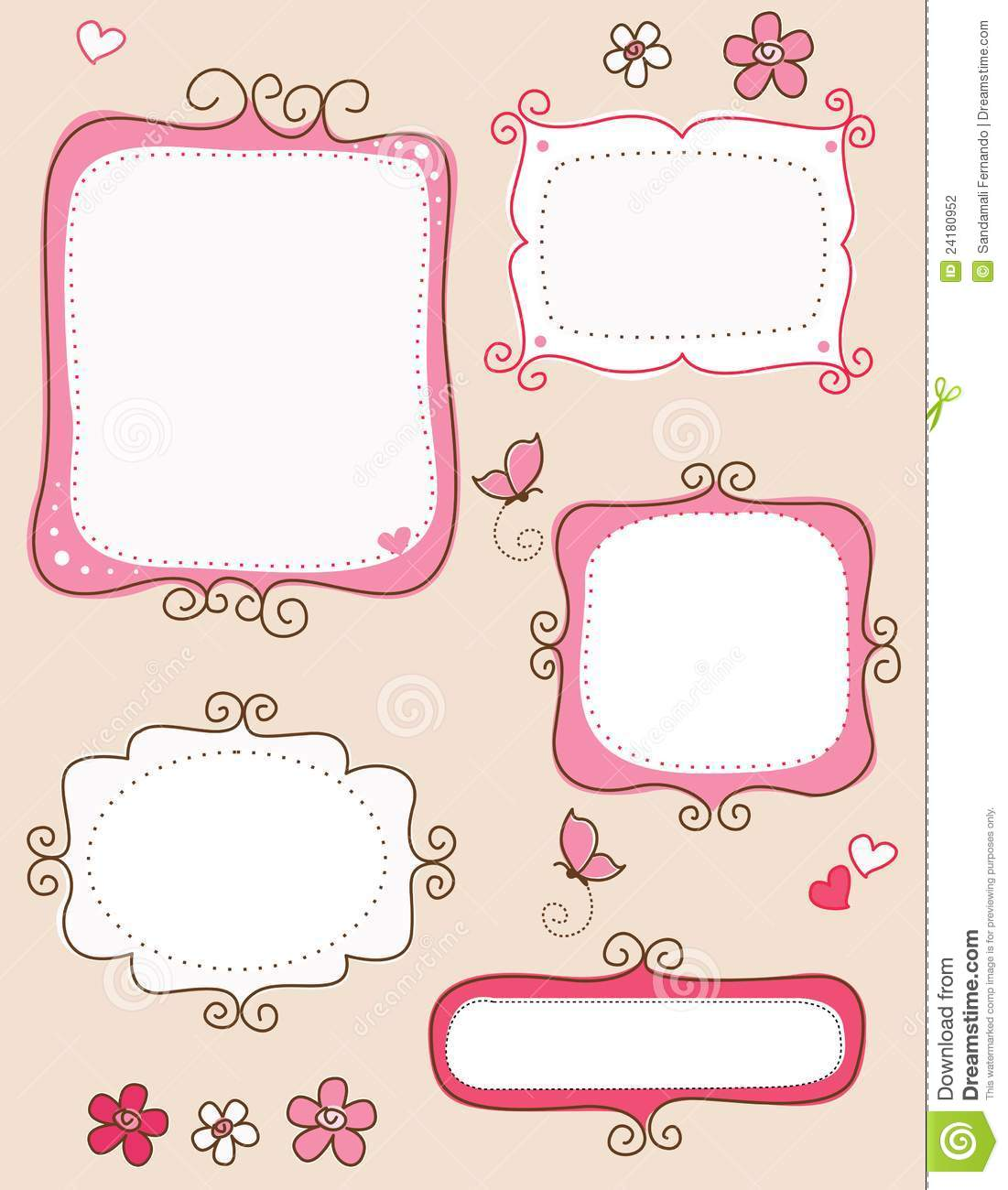 Collection of nice cute doodle frames on white background. specially ...
