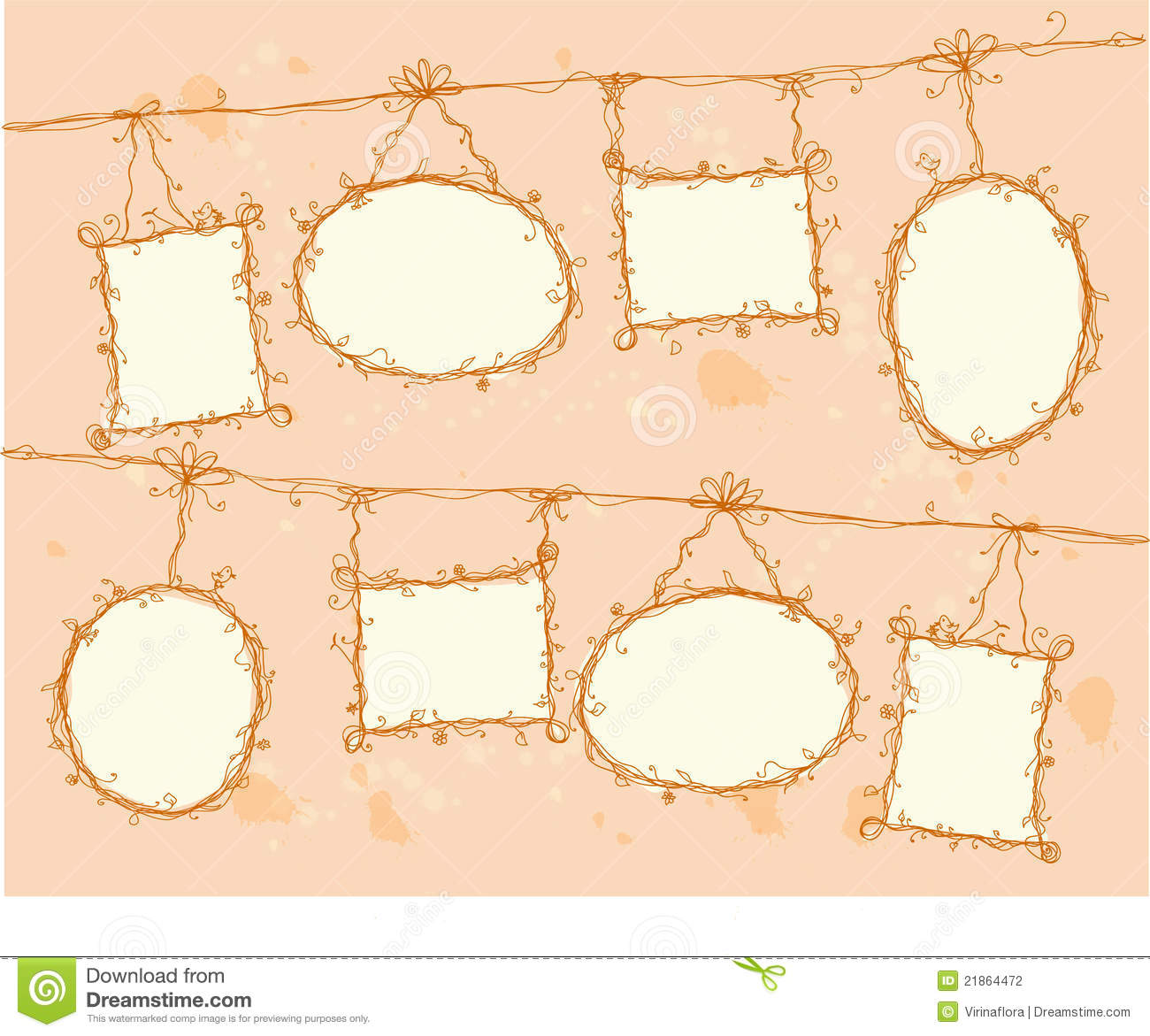 Doodle Frames Hanging On A Rope,vector Stock Vector ...