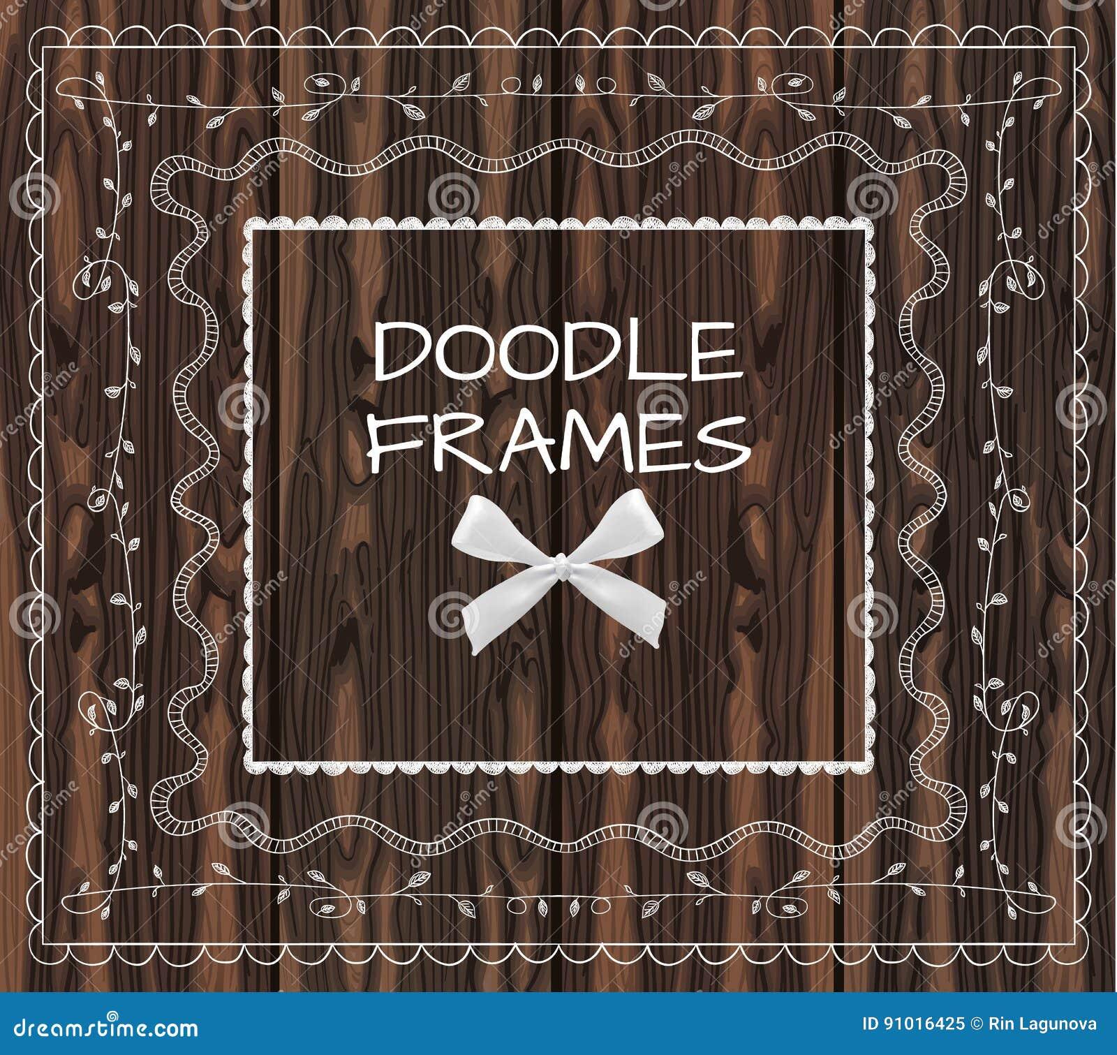 Wood frames set free vector - Background Bow Brown Doodle Set Vector Wood