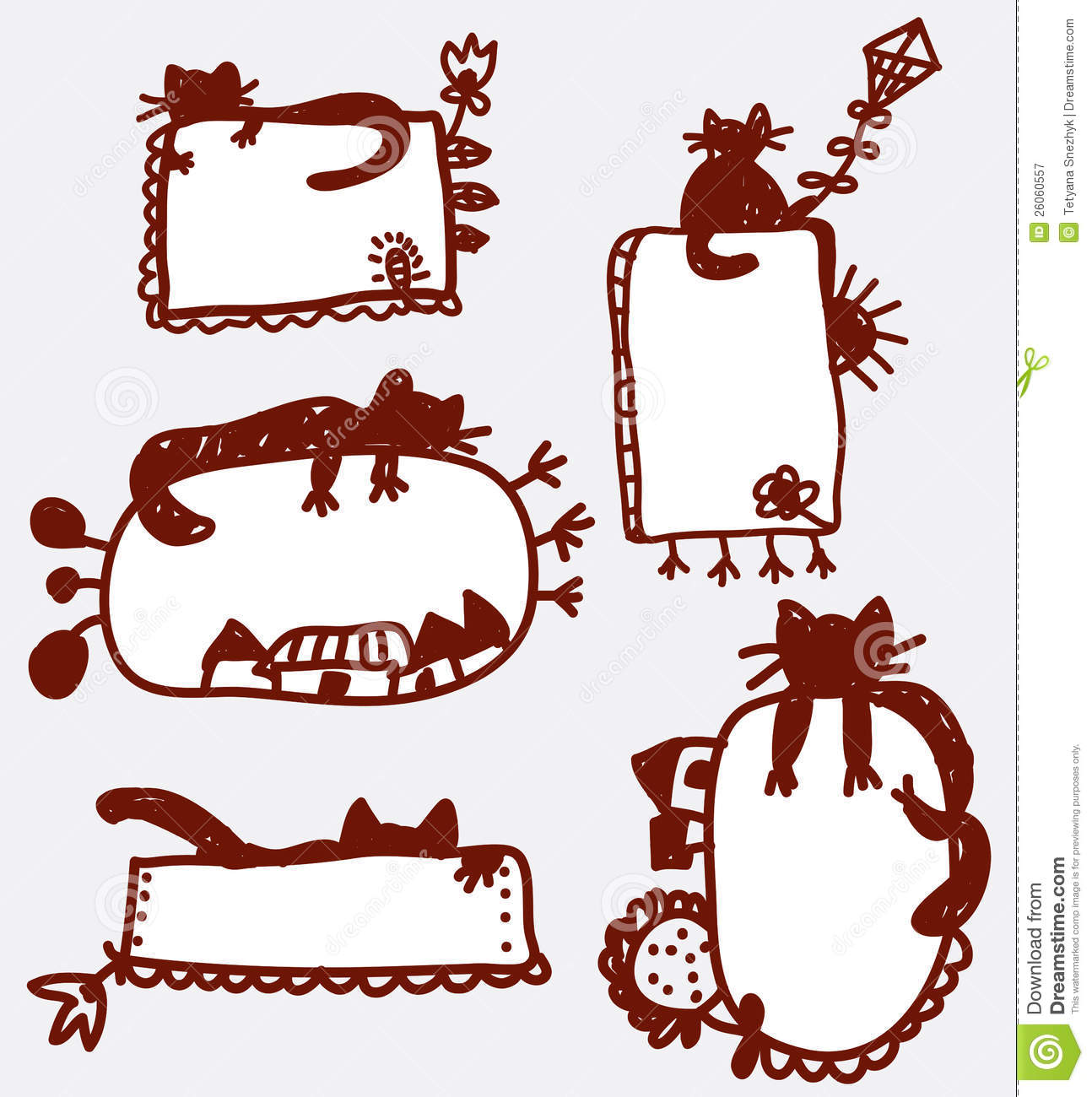 Fun Frame Clipart Doodle funny frames with cat