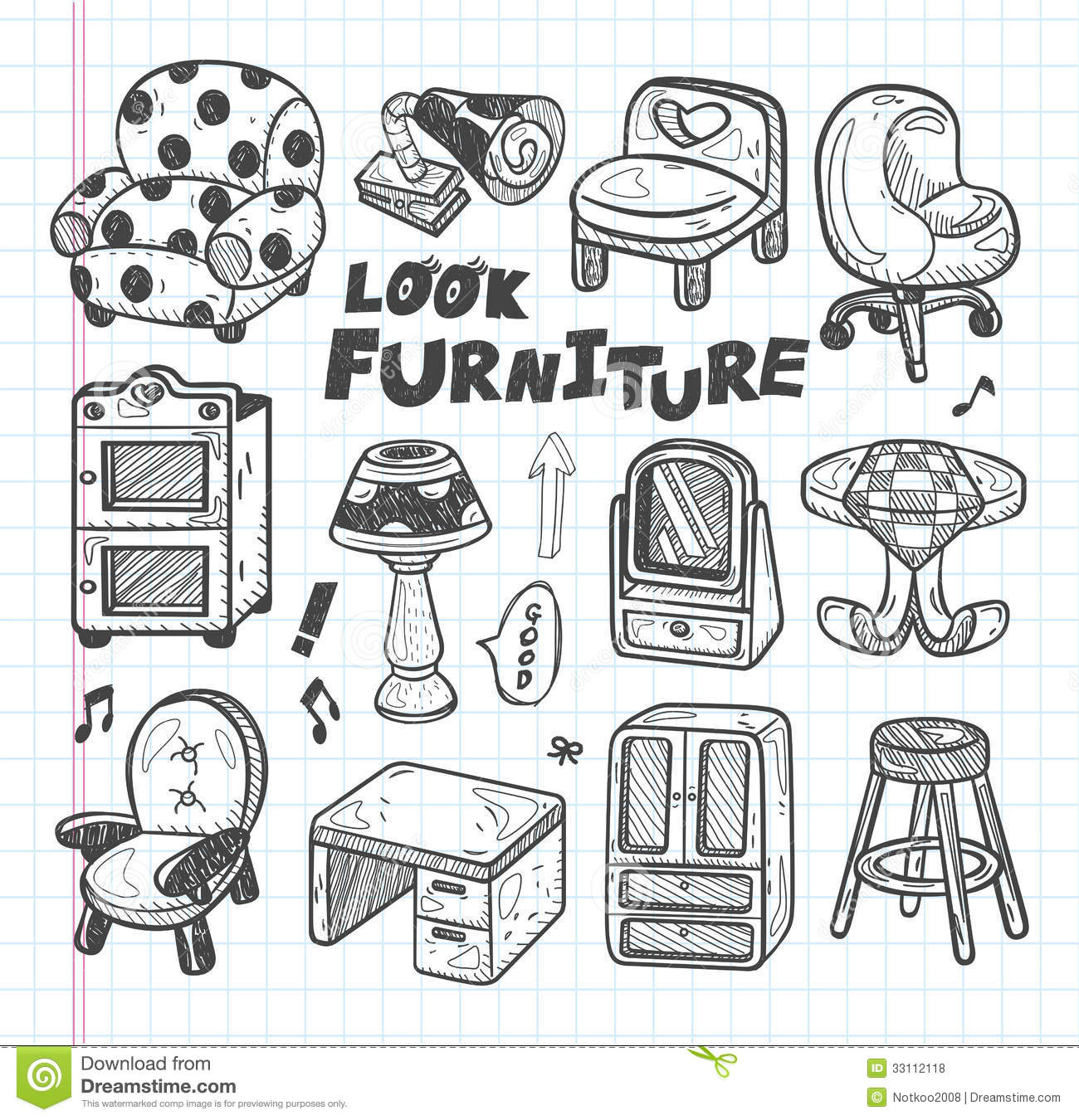 Doodle Furniture Icons Royalty Free Stock Photos Image