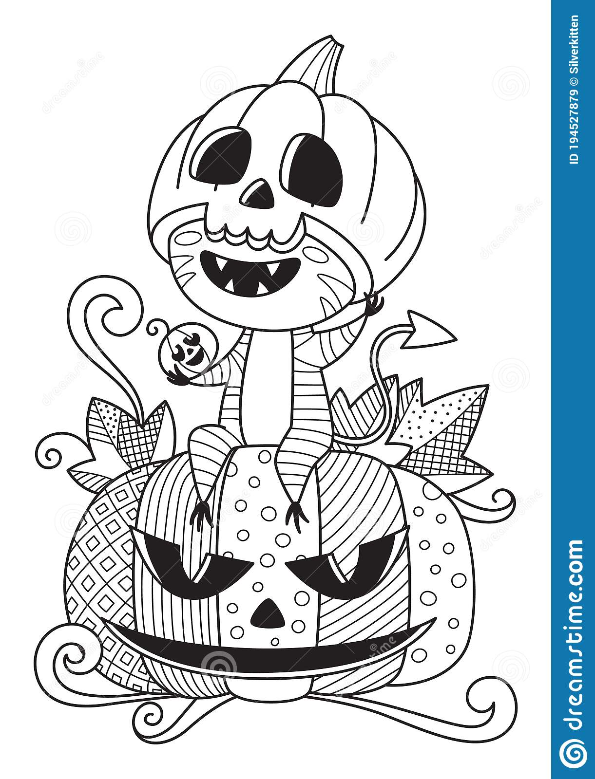 Doodle Halloween Coloring Book Page Cute Monster and Pumpkin. Antistress for Adults and Children. Vector Black and White Stock Illustration - Illustration of background, hand: 194527879