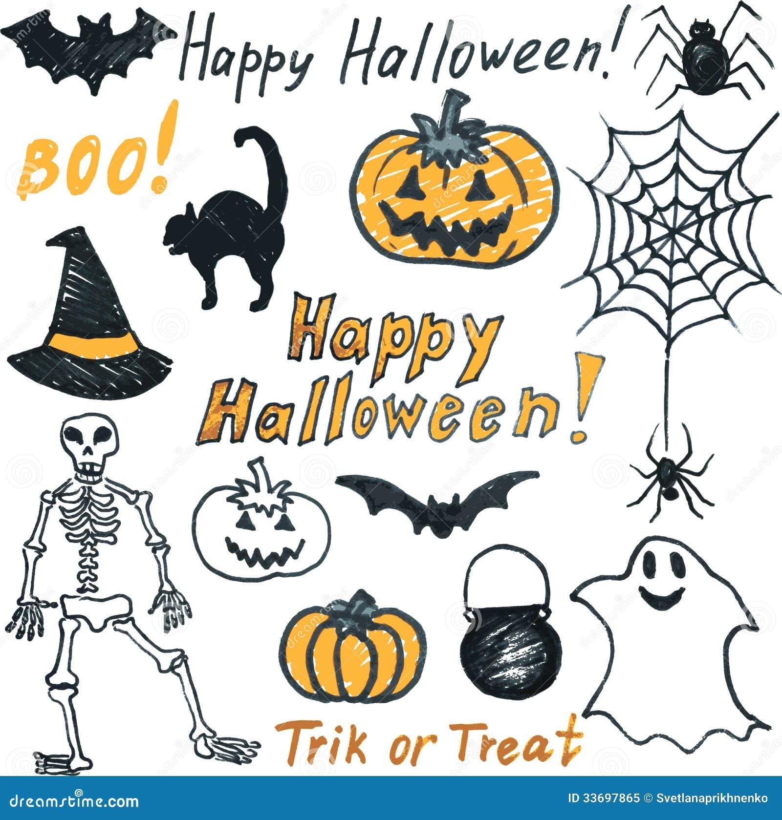 Doodle Halloween Set Royalty Free Stock Photo Image