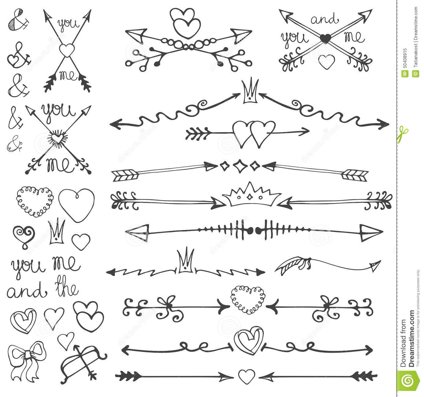 Doodle Hand Drawn Arrows Hearts Deviders Borders Stock