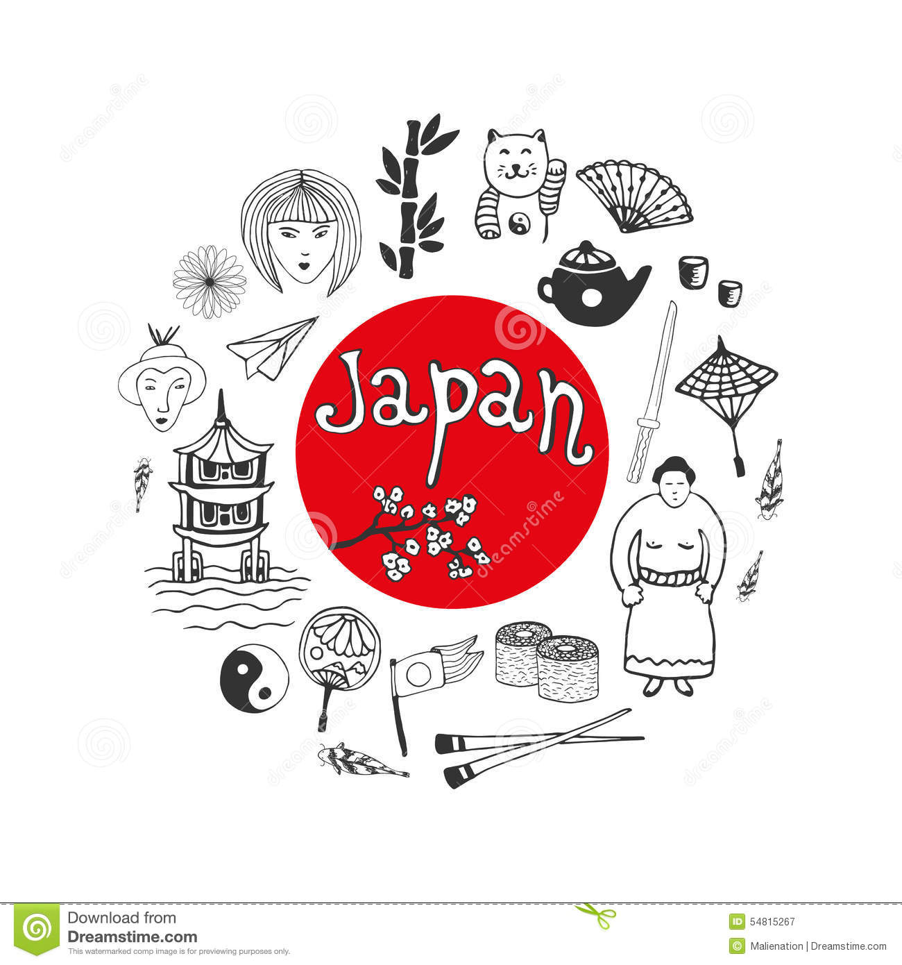 Doodle Hand Drawn Collection Of Japan Icons Japan Culture Elements For Design Vector Il Ration