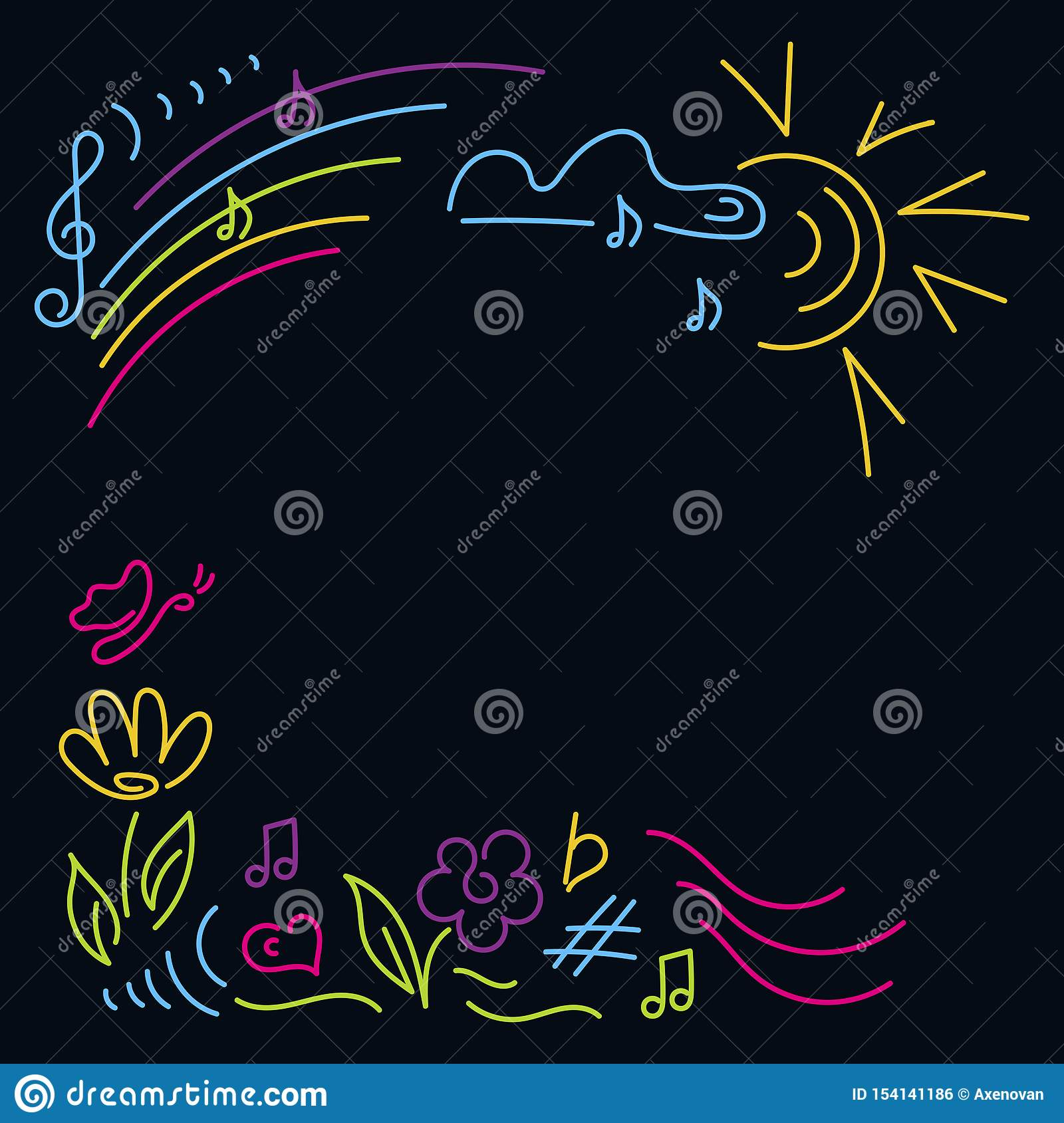 Doodle hand drawn. Poster music concert, festival. Children`s party, music classes, school party