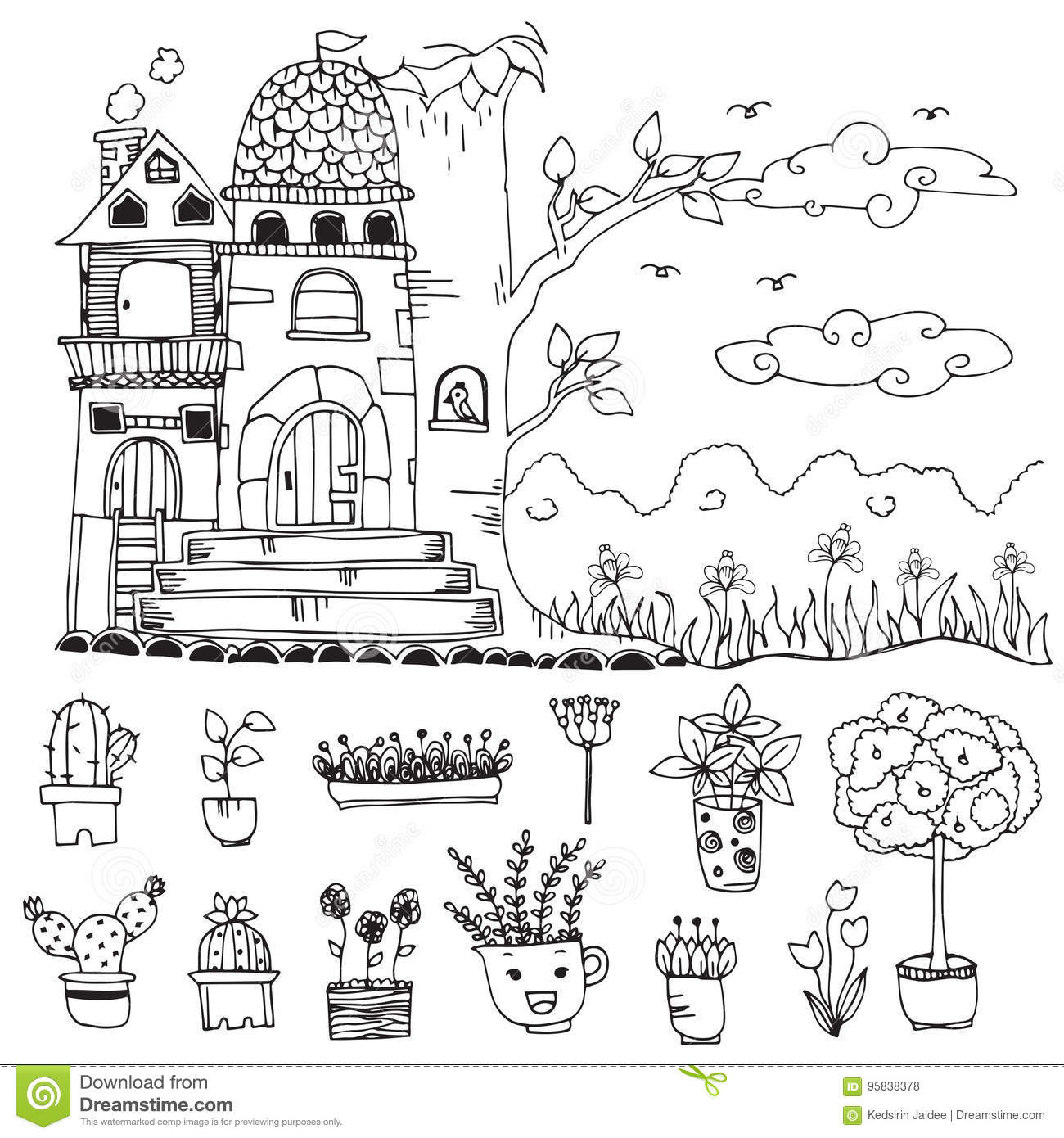 Doodle Hand Drawn Sketch Of Cute Castle And Flower On Flower Pot In