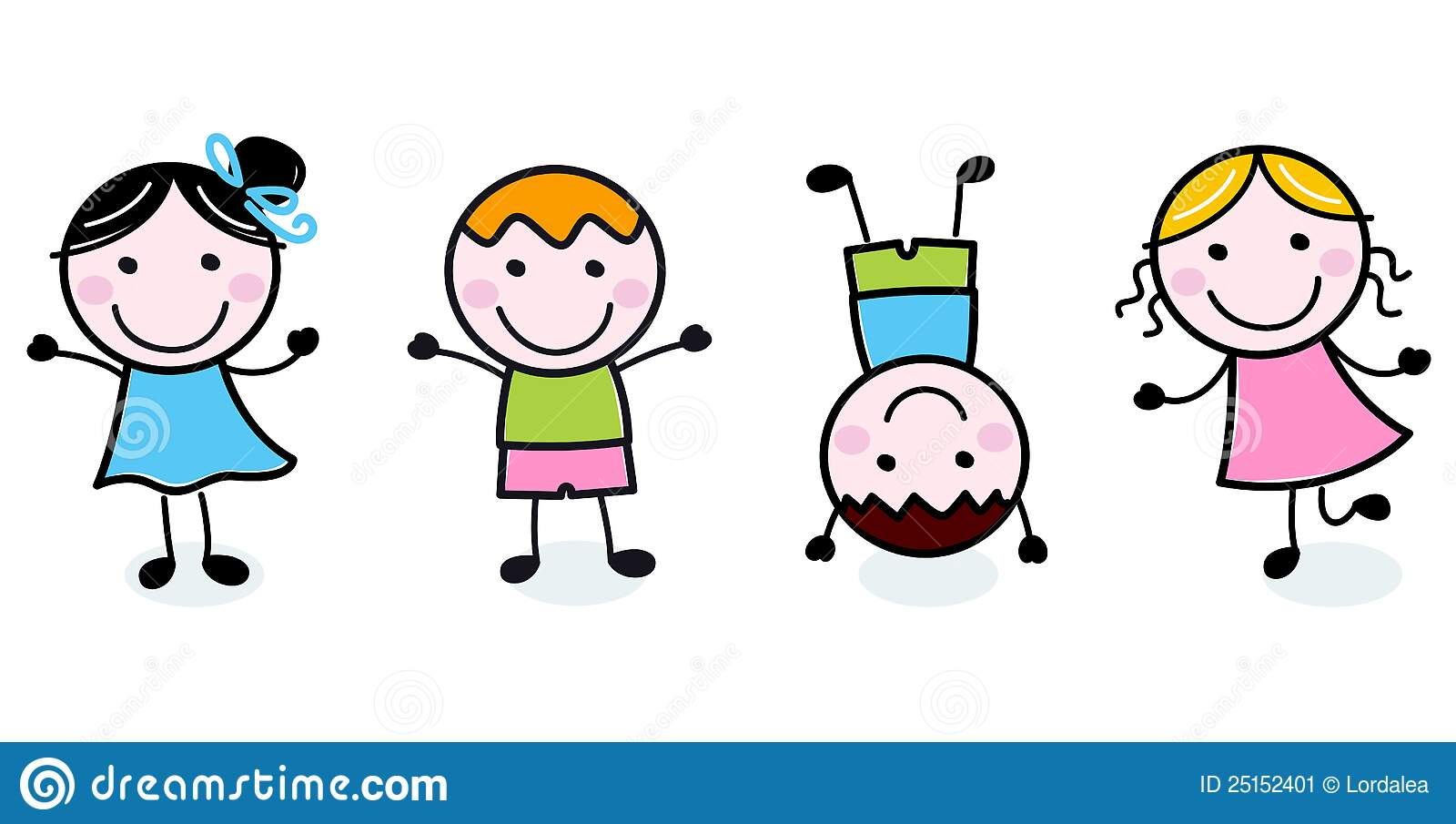 Scribble Drawing Kids : Doodle happy kids group stock vector illustration of
